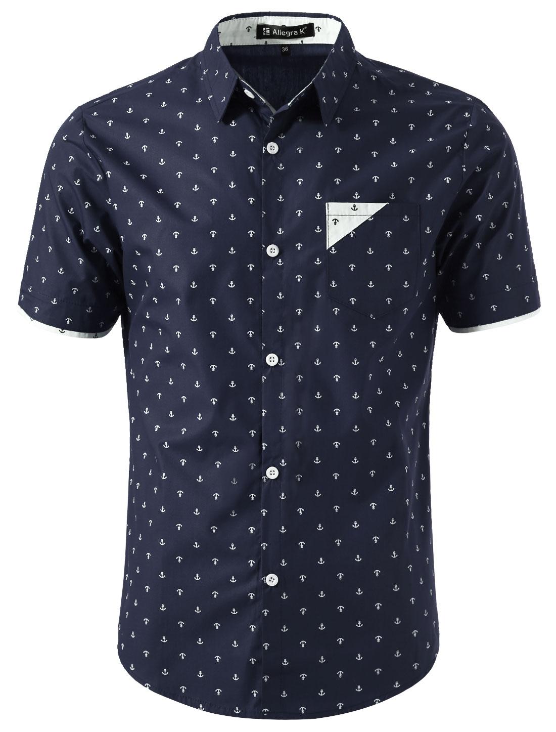 Men Point Collar Button Down Short Sleeve Anchor Casual Shirts Navy Blue L