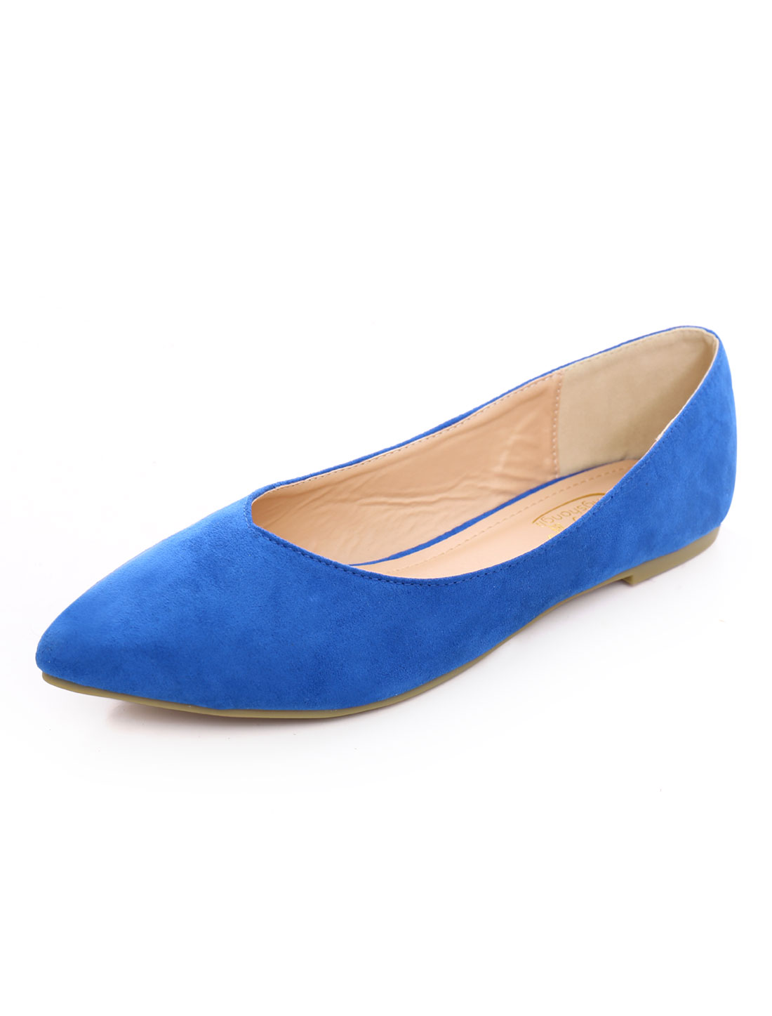 Lady Faux Suede Pointed Comfort Slip On Shoes Blue US 9-9.5