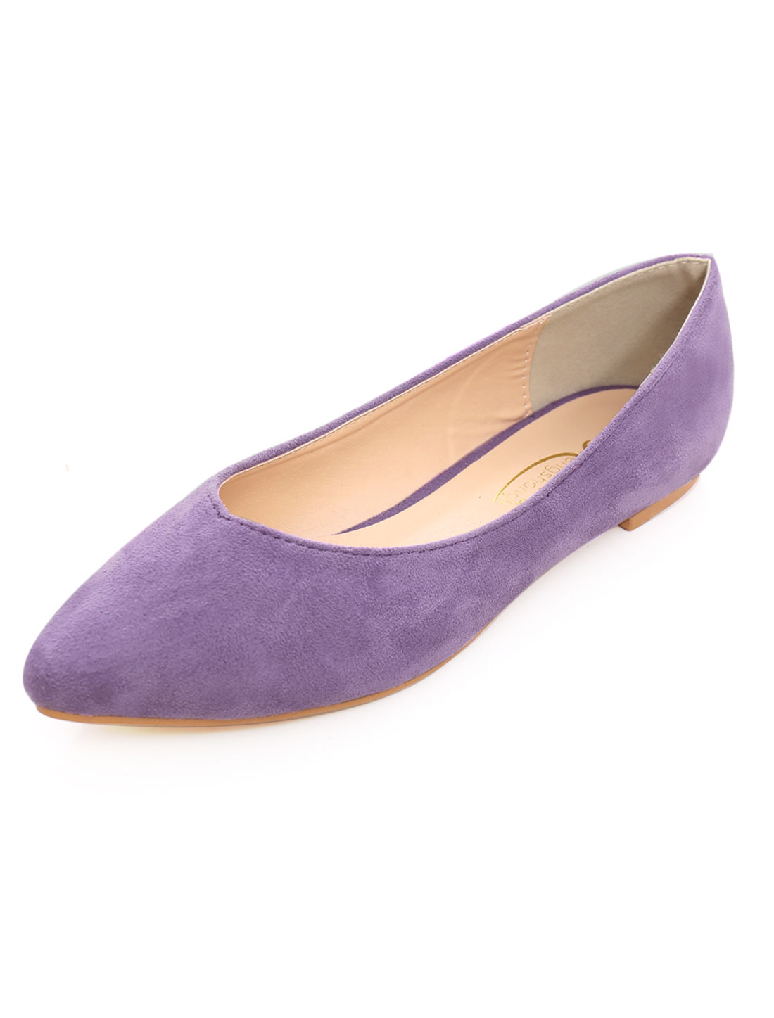 Woman Faux Suede Textured Outsole Pointed Ballet Flat Purple US 8