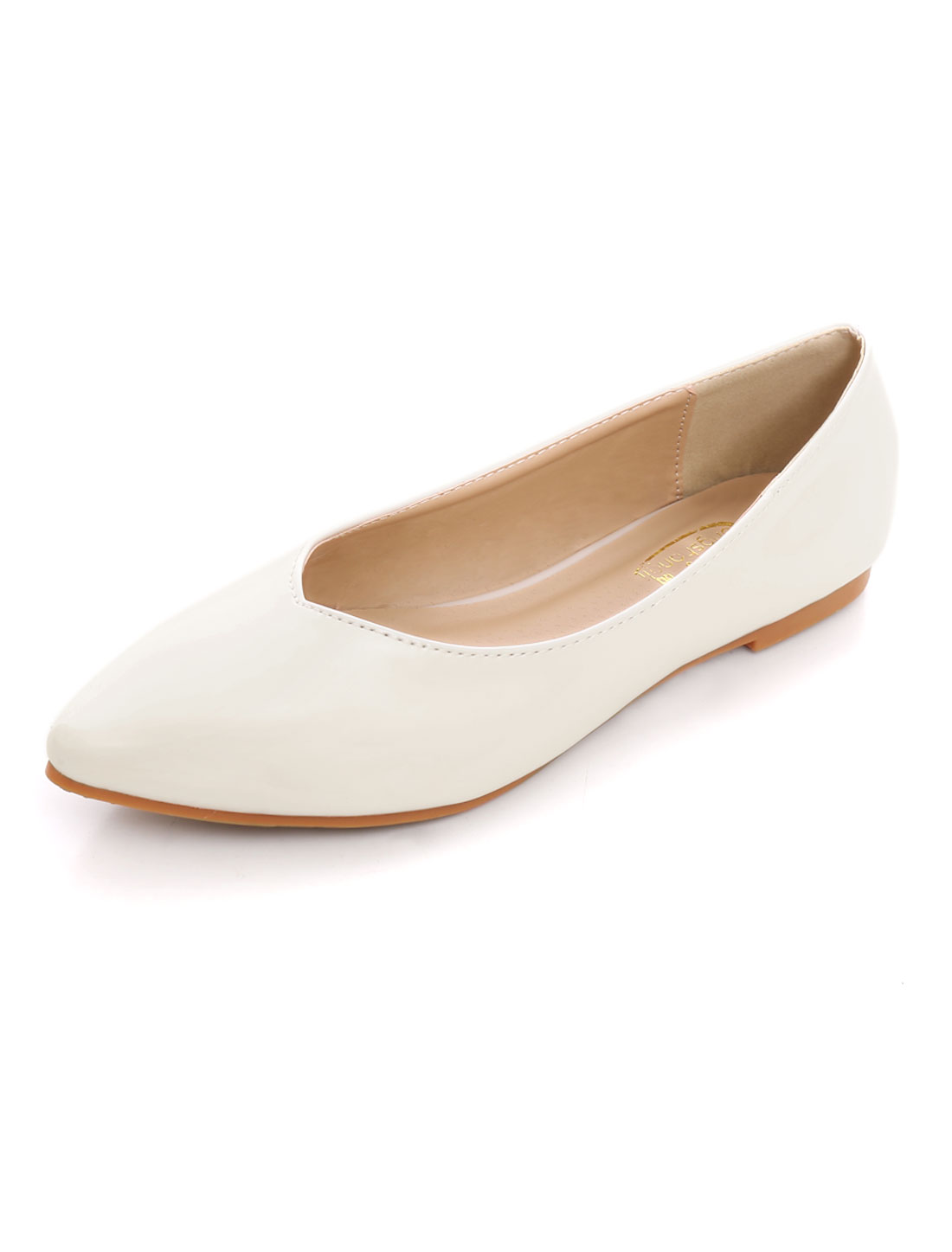 Woman Flat Sole V-Cut Vamp PU Ballet Pointed Toe Flats White US 9-9.5