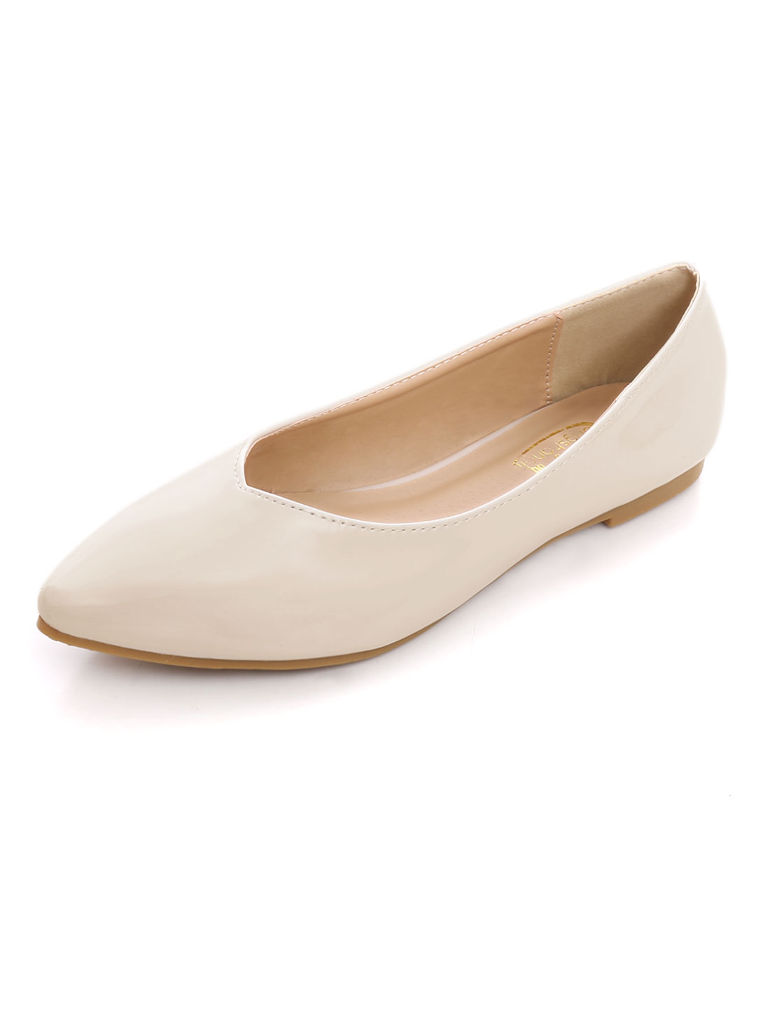 Woman Patent-Leather V-Cut Vamp Pointed Flat Comfort Shoes Apricot US 10.5