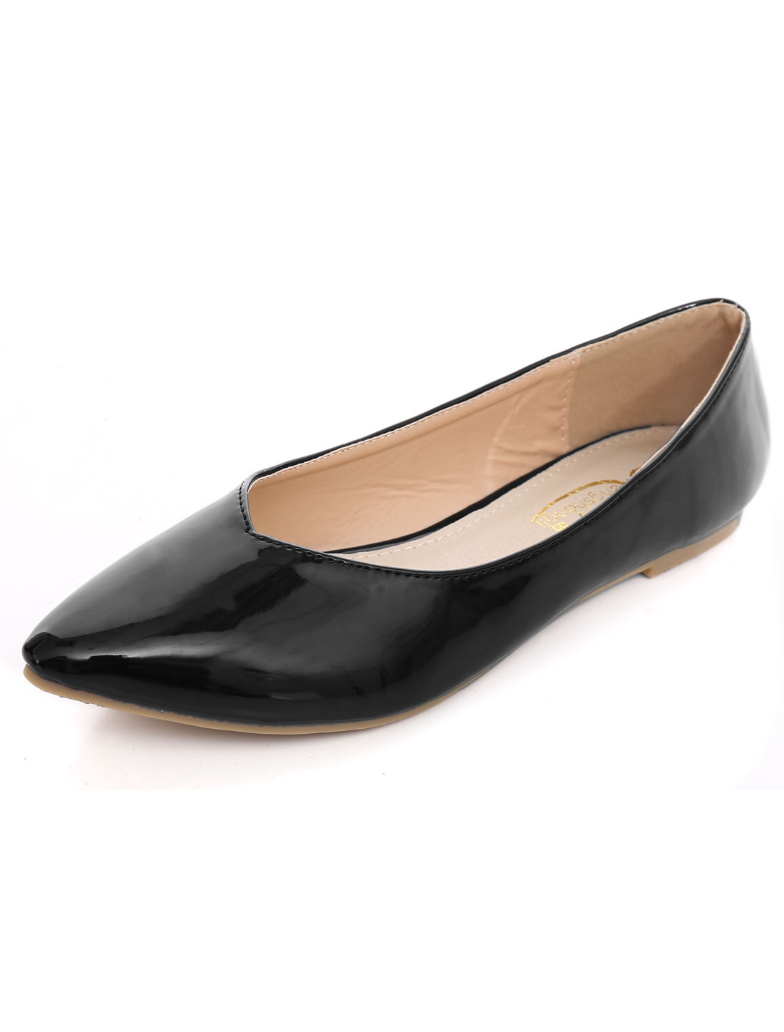 Woman Textured Outside V-Cut Vamp Point-Toe Flats Black US 10