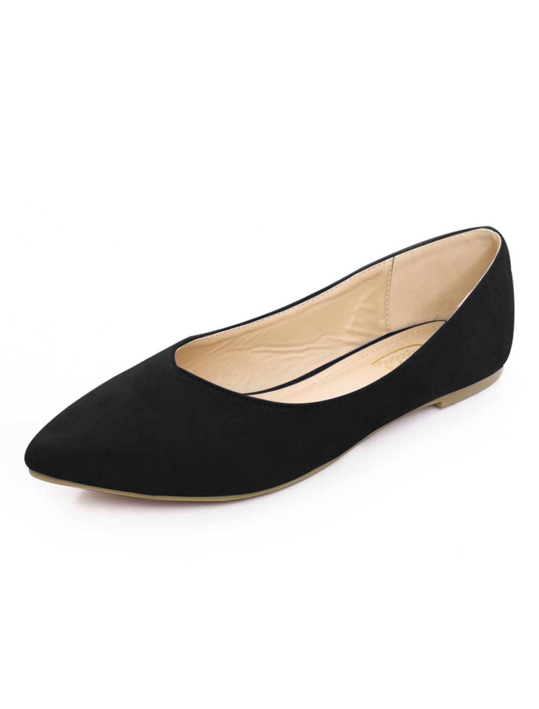 Women Faux Suede V-Cut Vamp Pointed Toe Ballet Flat Bronze Black US 10