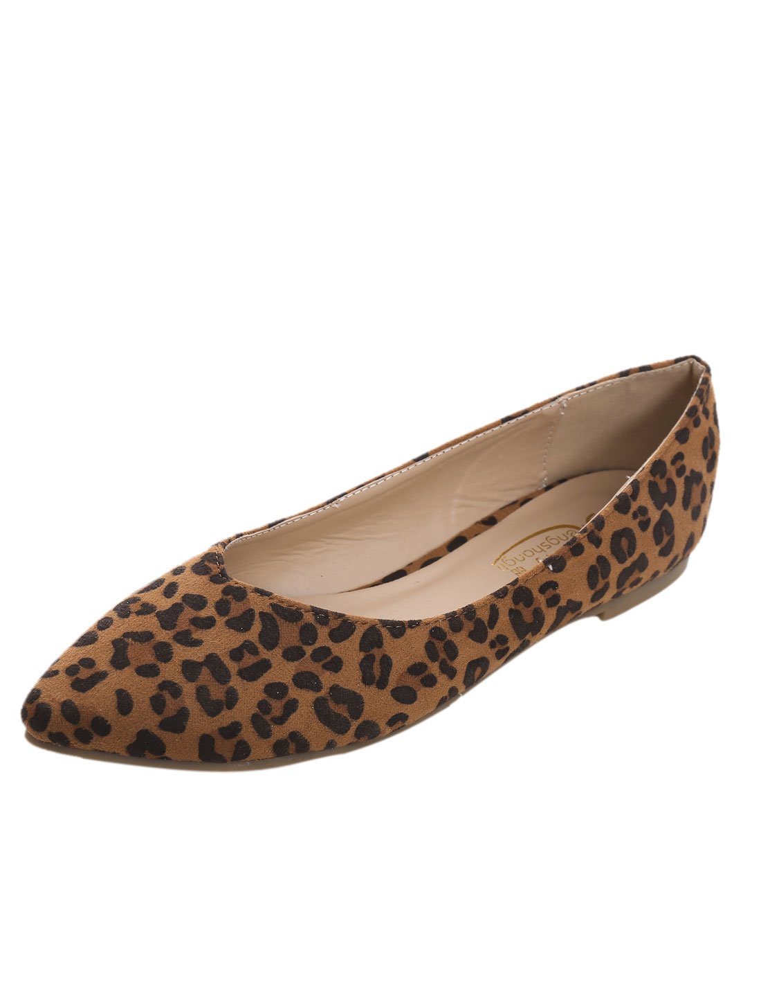 Ladies Leopard Pointed Toe Padded Insole Slip On Flats Brown US 9-9.5