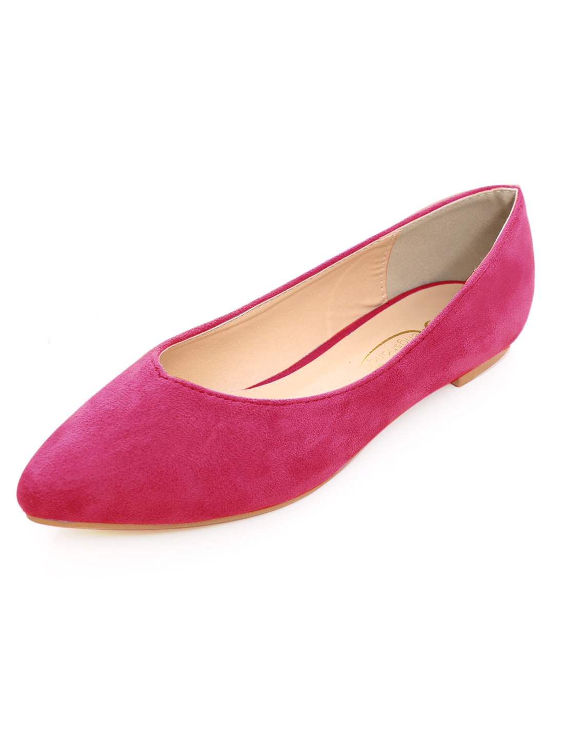 Woman Faux Suede Pointed Padded Insole Flat Shoes Fuchsia 8.5