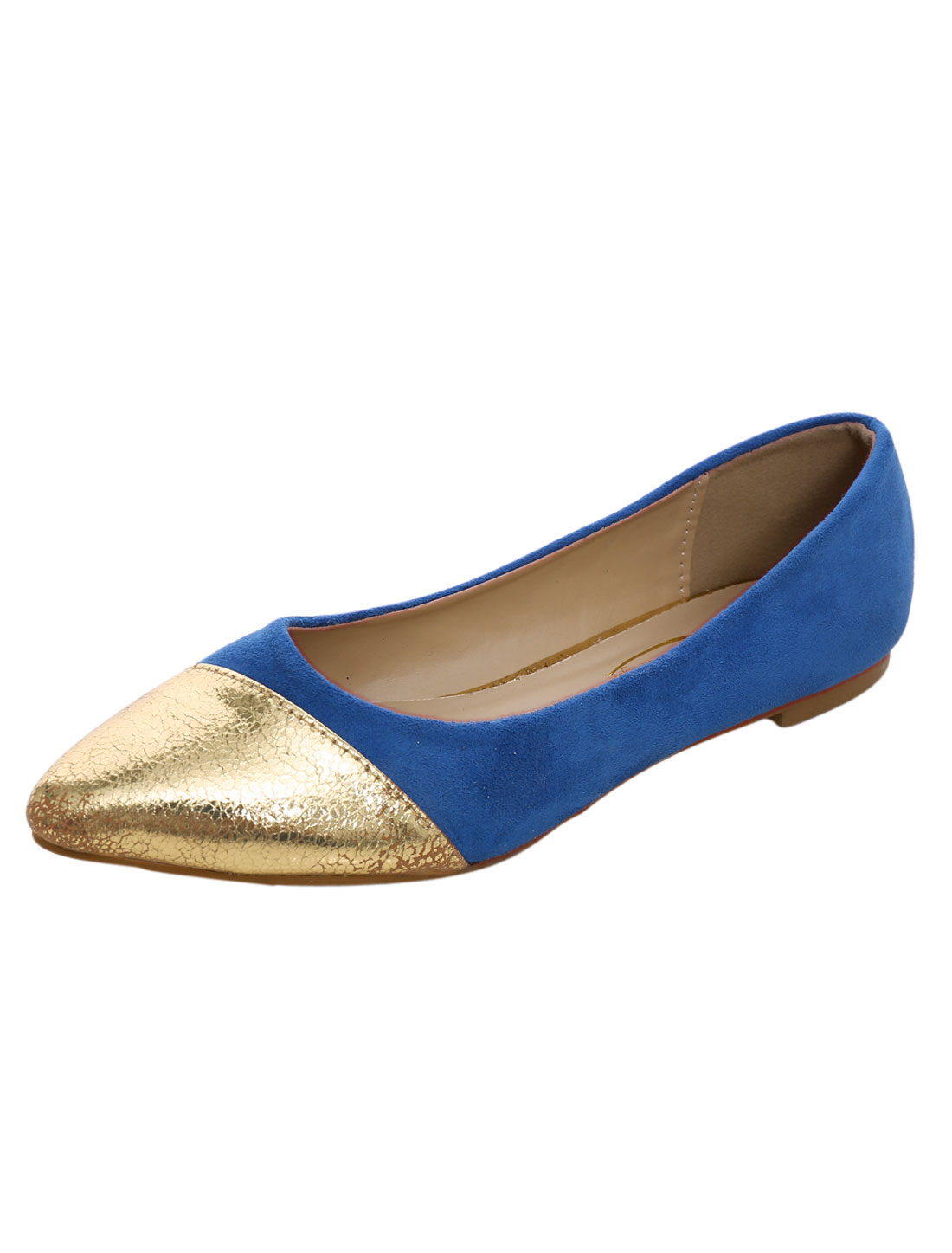 Ladies Color Blocking Panel Pointed Toe Casual Flats Royal Blue US 10.5