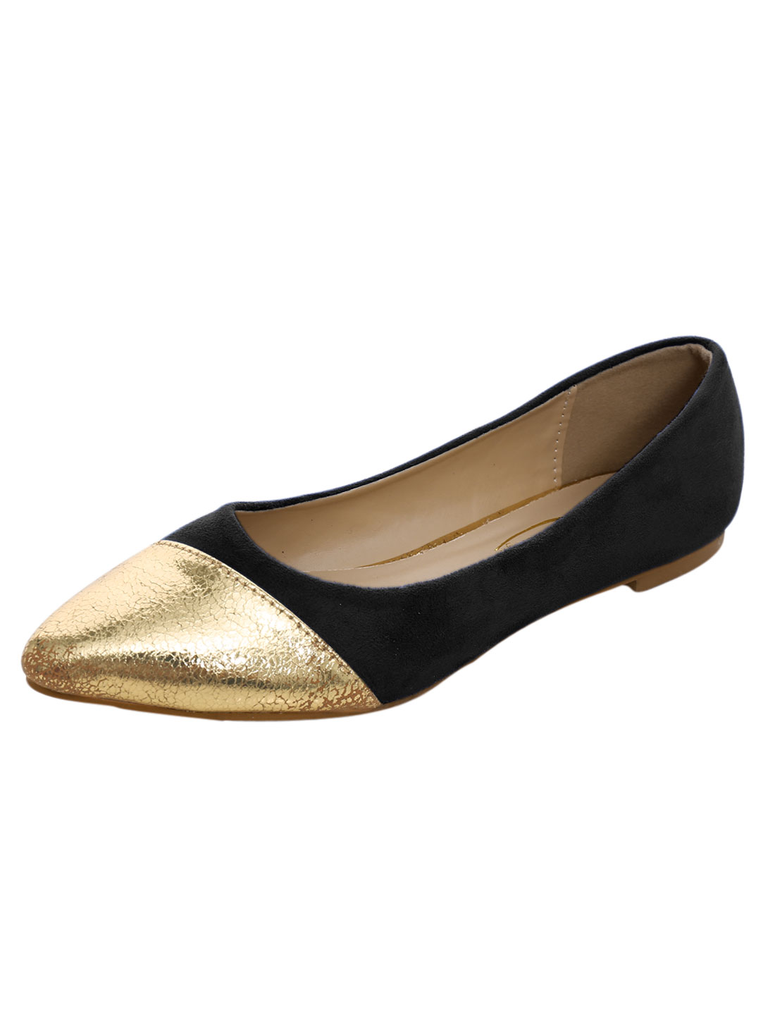 Women Contrasting Color Panel Pointed Toe Leisure Flats Shoes Solid Black US 8.5