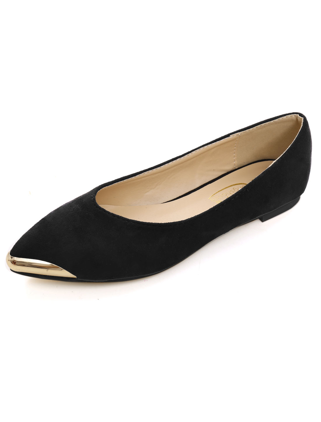 Woman Metallic Decor Toe Faux Suede Pointed Flats Iron Black US 9-9.5