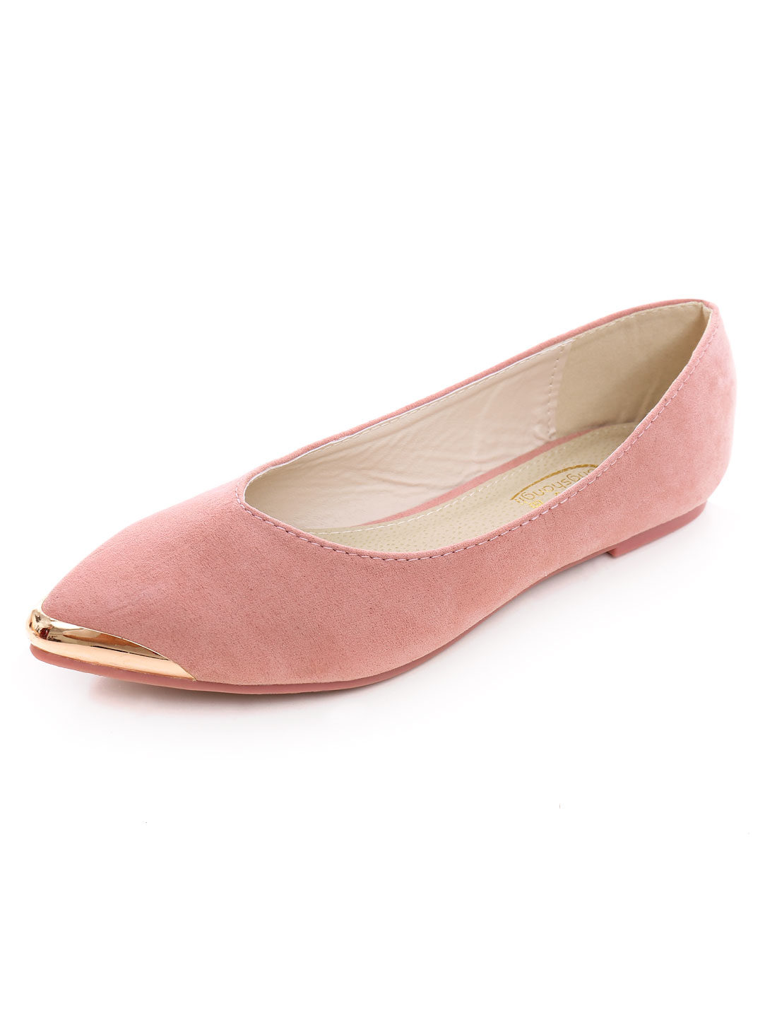 Woman Metallic Embellished Faux Suede V-Cut Vamp Point-Toe Flats Peach US 8.5
