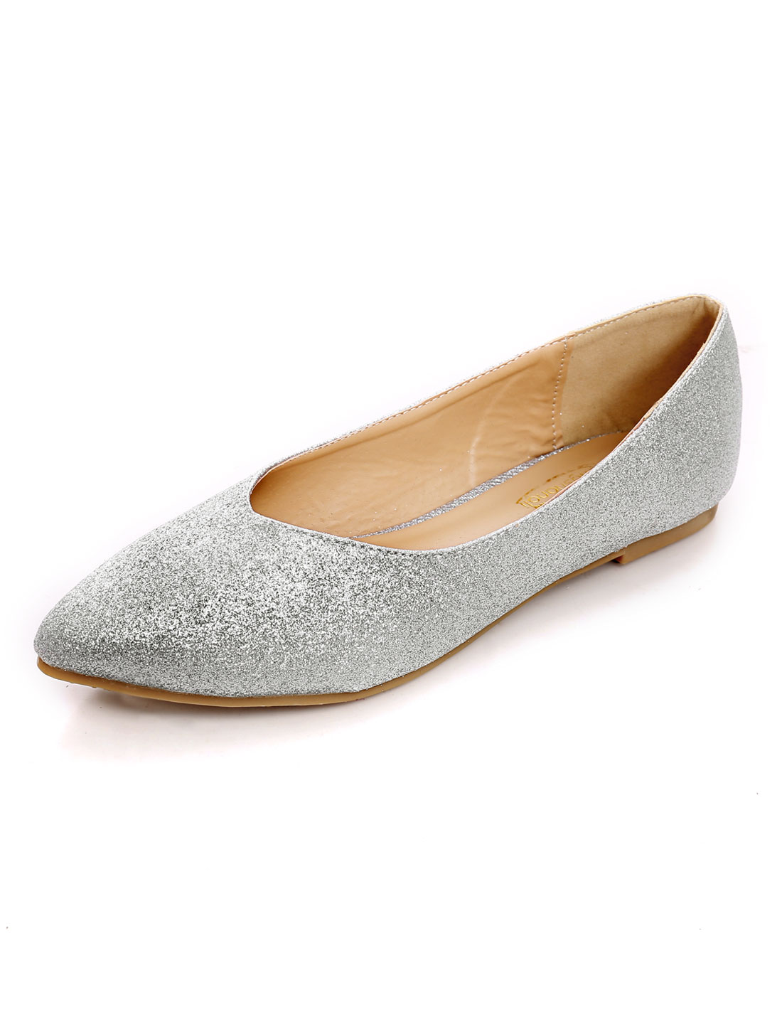 Women Slip On Shiny Decor Padded Outsole Flats Silver Tone US 10