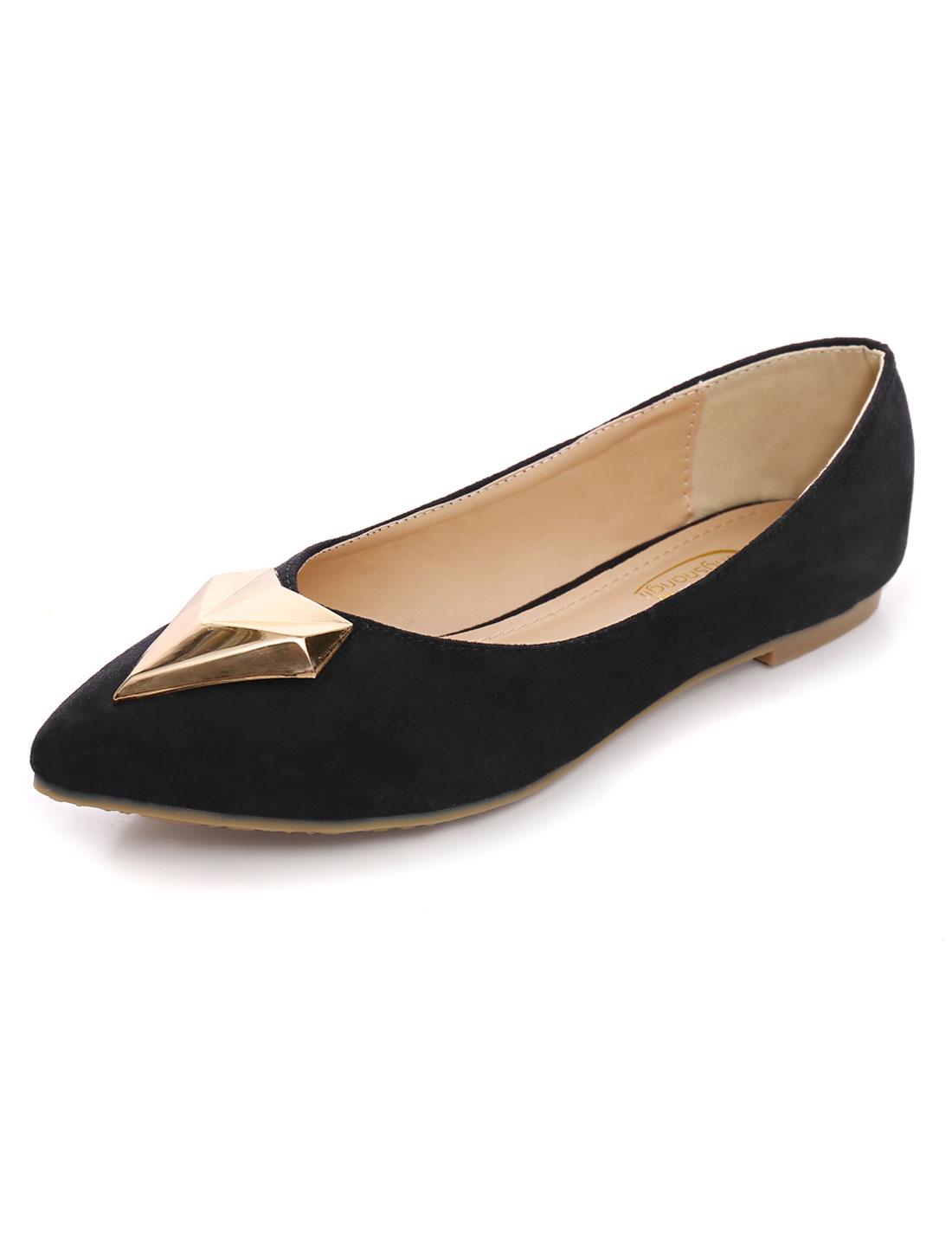 Lady Padded Insole Polished Plastic Decor Flats Shoes Coal Black US 9-9.5