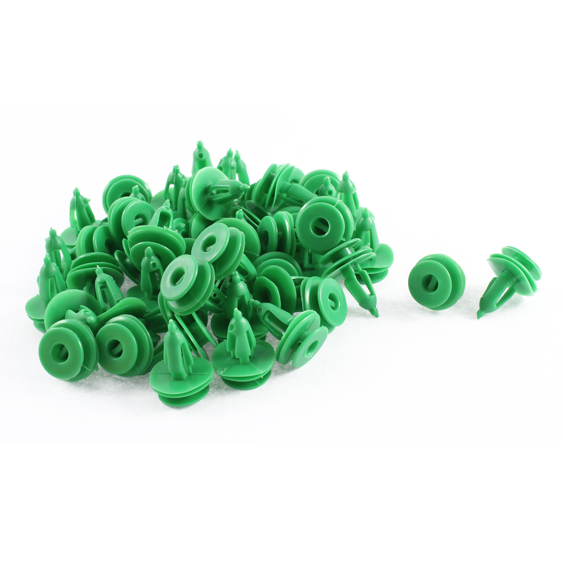 52Pcs Green Push Type Moulding Splash Guard Plastic Retainer 7 x 17 x 16mm