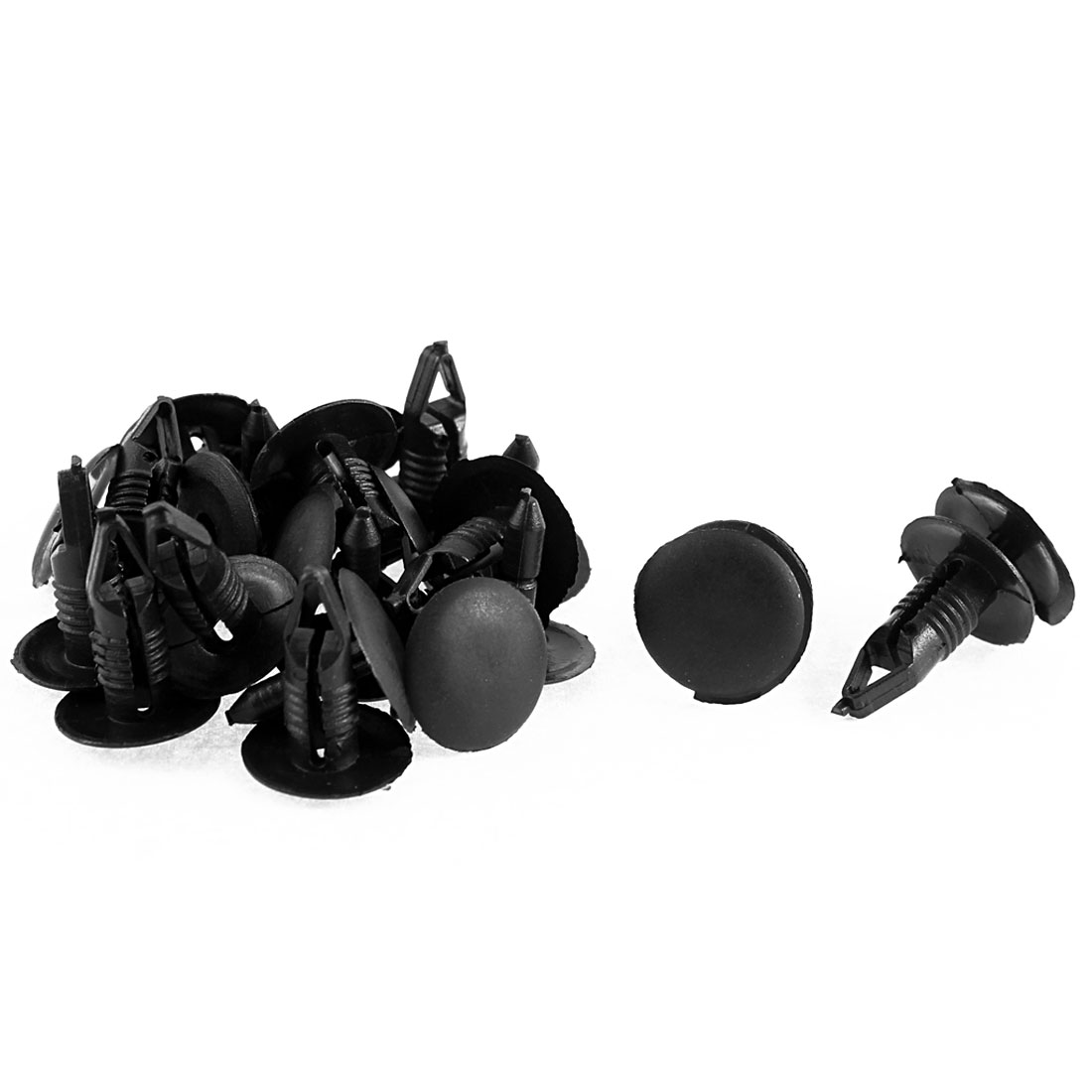 12Pcs Black Plastic Push-Type Auto Trim Clips 7mm Hole for Ford