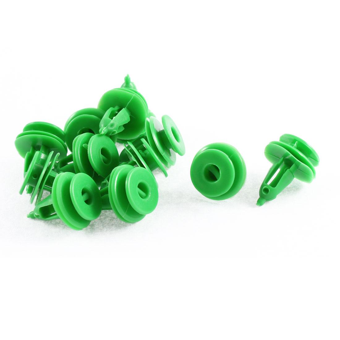 12Pcs Green Push-Type Trim Moulding Plastic Retainer 7 x 17 x 16mm