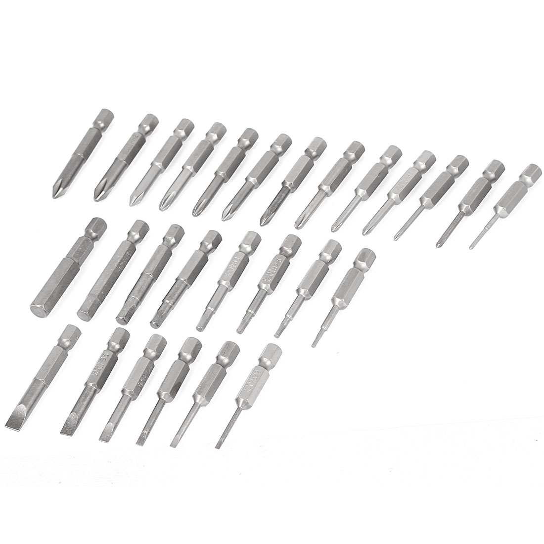 50mm Length Magnetic Phillips Slotted Hex Head Screwdriver Bits Set 27 In 1