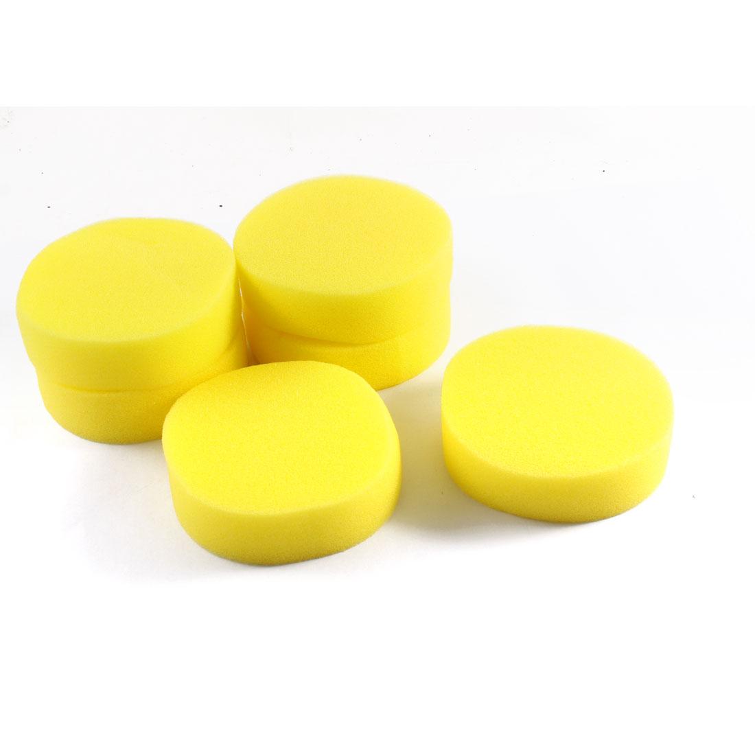 "6 Pcs 4"" Diameter Car Round Foam Cleaning Polishing Buffing Sponge Pad Yellow"