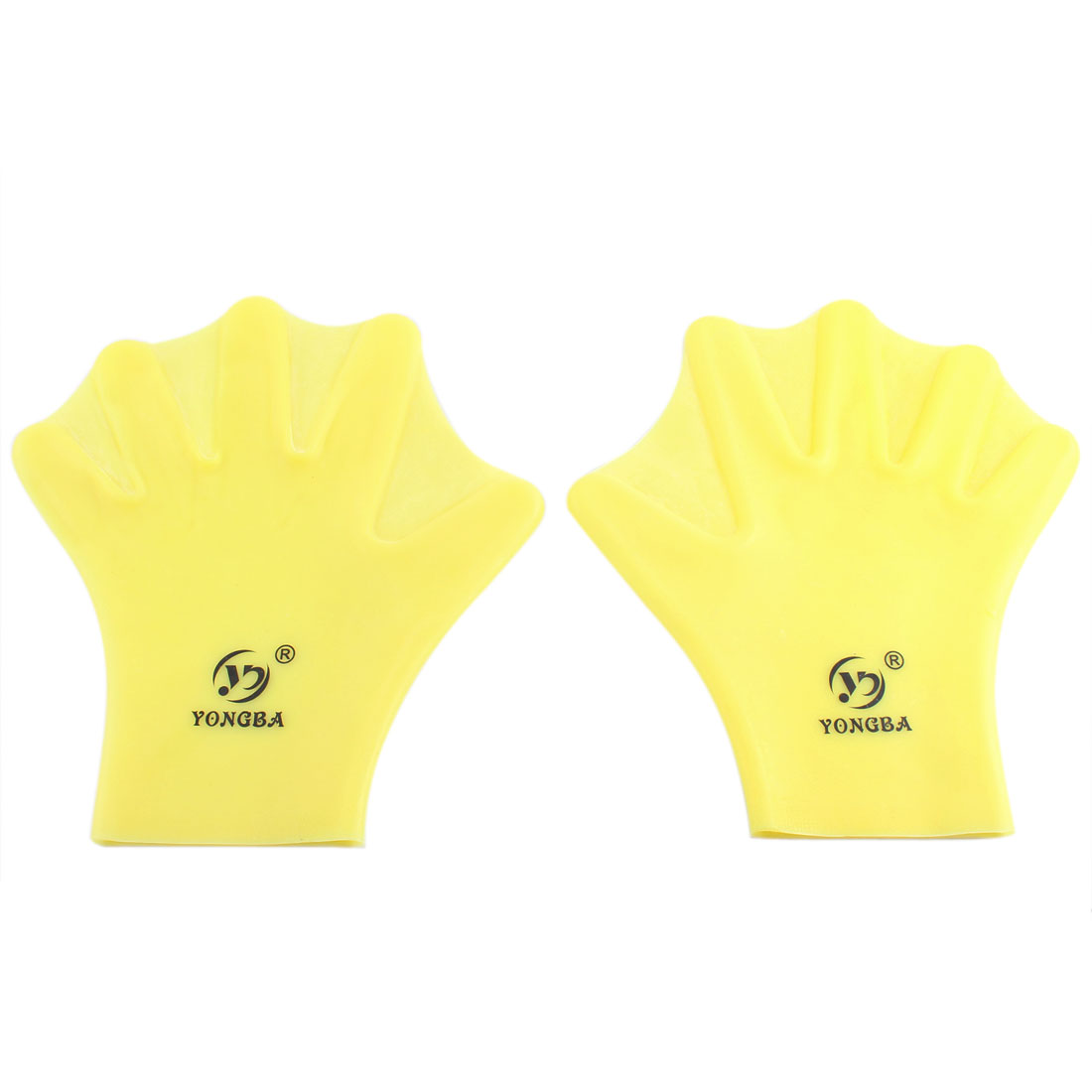 Pair Silicoen Frog Finger Webbed Swimming Diving Gloves Hand Palm Yellow