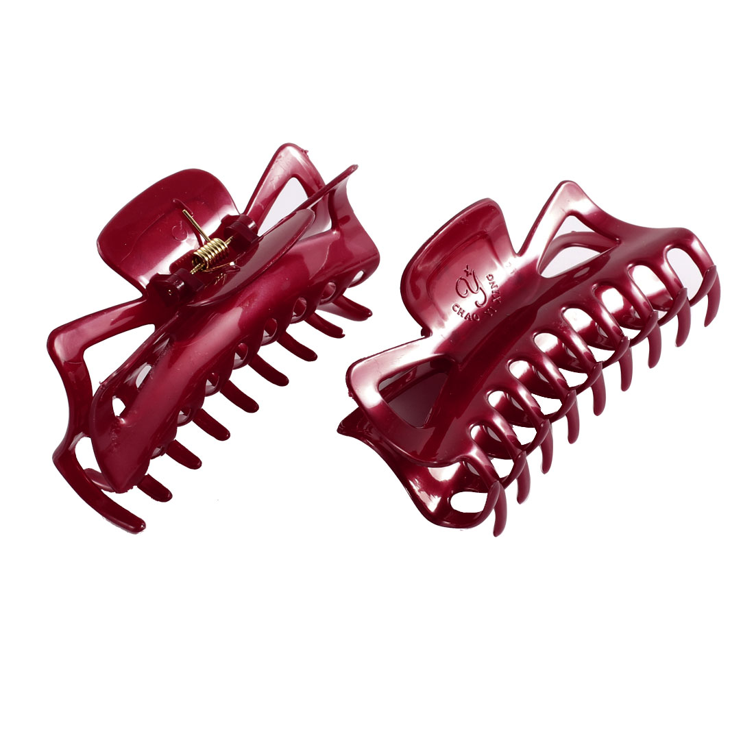 2Pcs Plastic Spring Loaded Butterfly Shaped Hairpin Hair Clip Claw Grip Burgundy