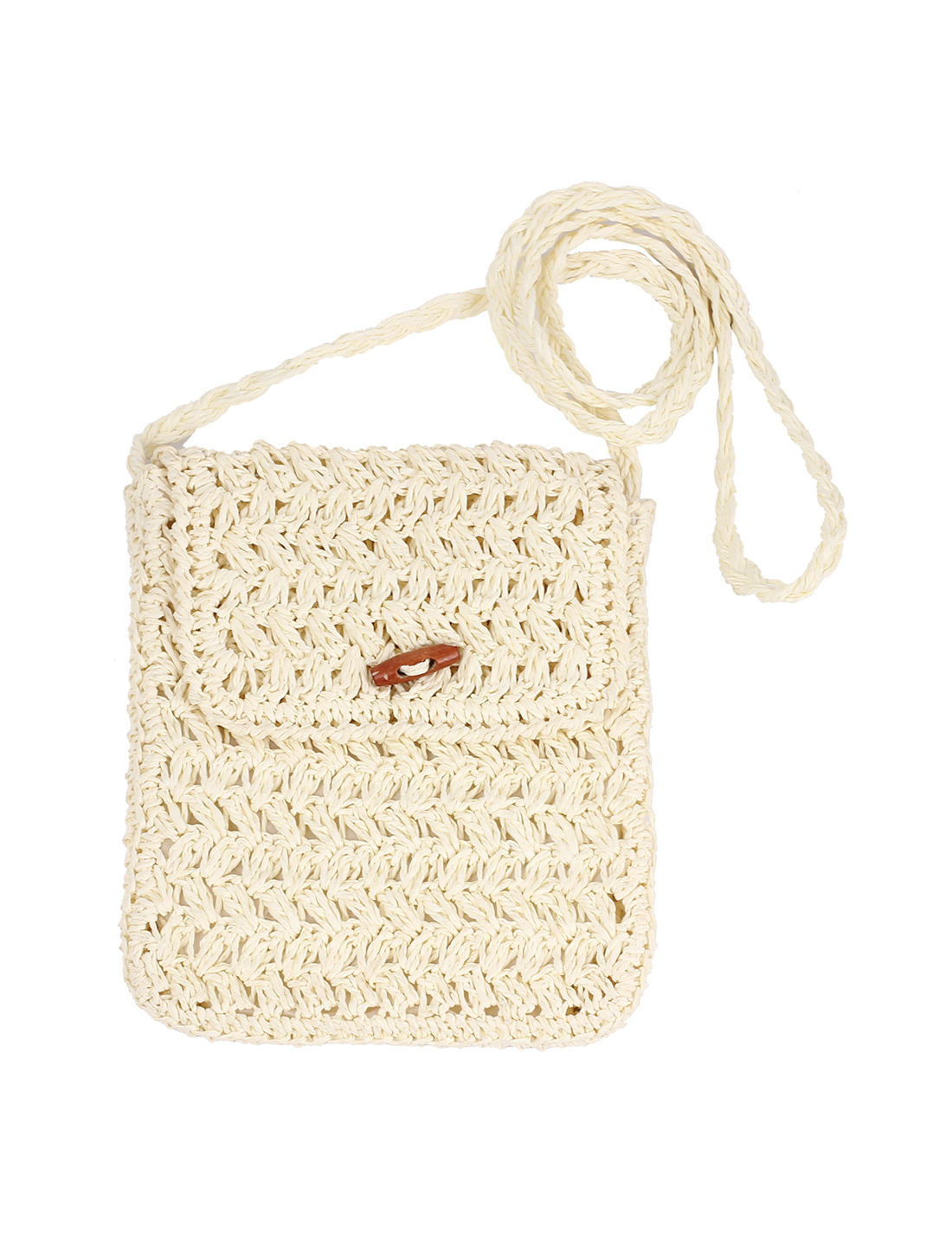 Braided Straw Rectangle Nylon lining Wooden Button Decor Shoulder Bag White