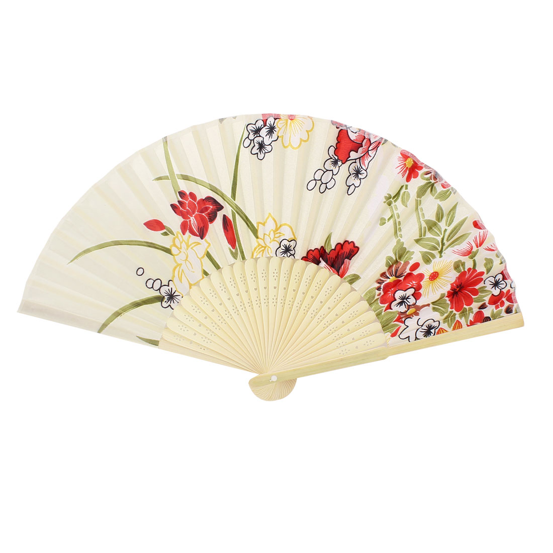 Red Flower Print Bamboo Ribs White Nylon Folding Hand Fan 37cm Open Width