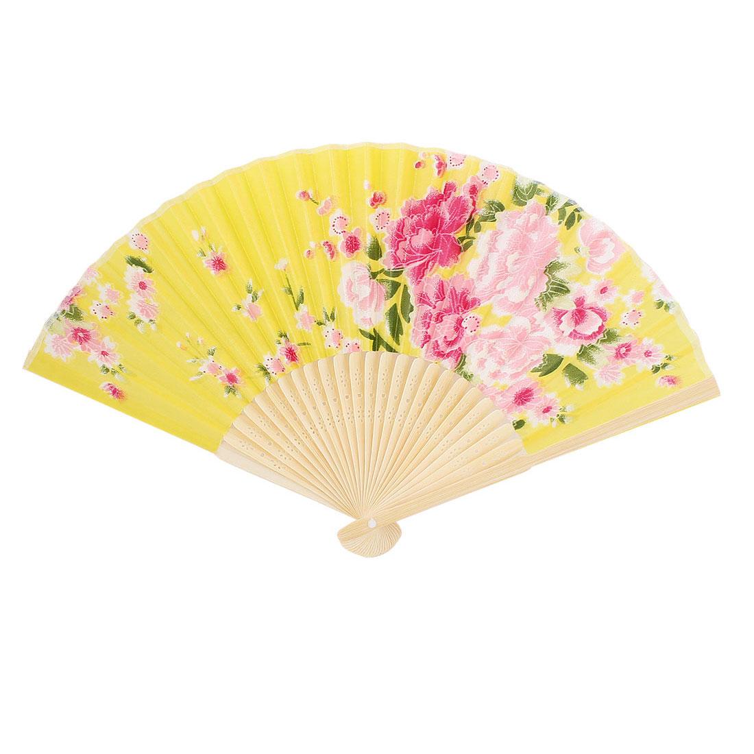 "Women Performance Dancing Pink Blooming Flower Pattern Yellow Nylon Folding Hand Fan 37cm 15"""