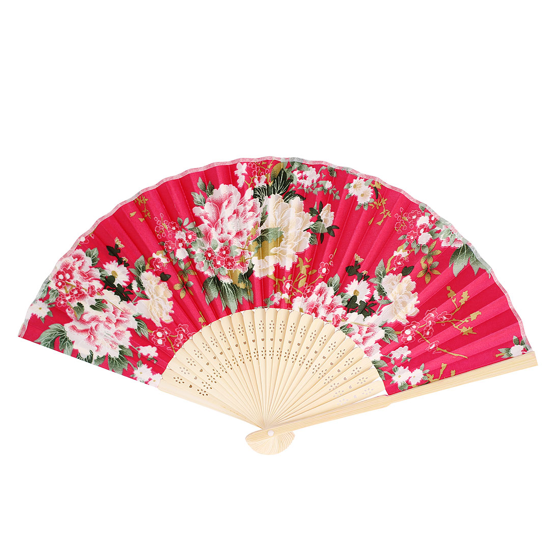 Beige Bamboo Ribs Foldable Multicolors Flowers Print Rose Red Cloth Hand Fan