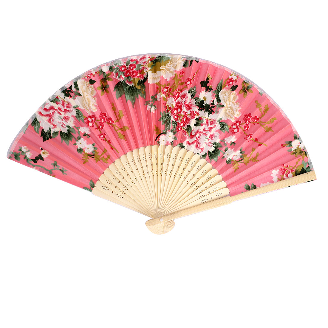 Multicolors Flowers Print Bamboo Ribs Foldable Mini Hand Fan Pink