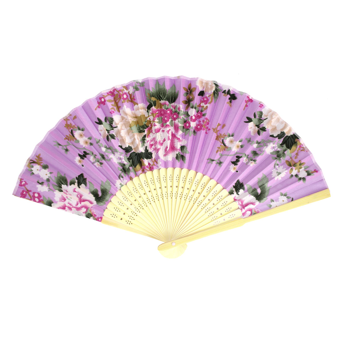 Multicolors Flowers Print Bamboo Ribs Foldable Mini Hand Fan Purple
