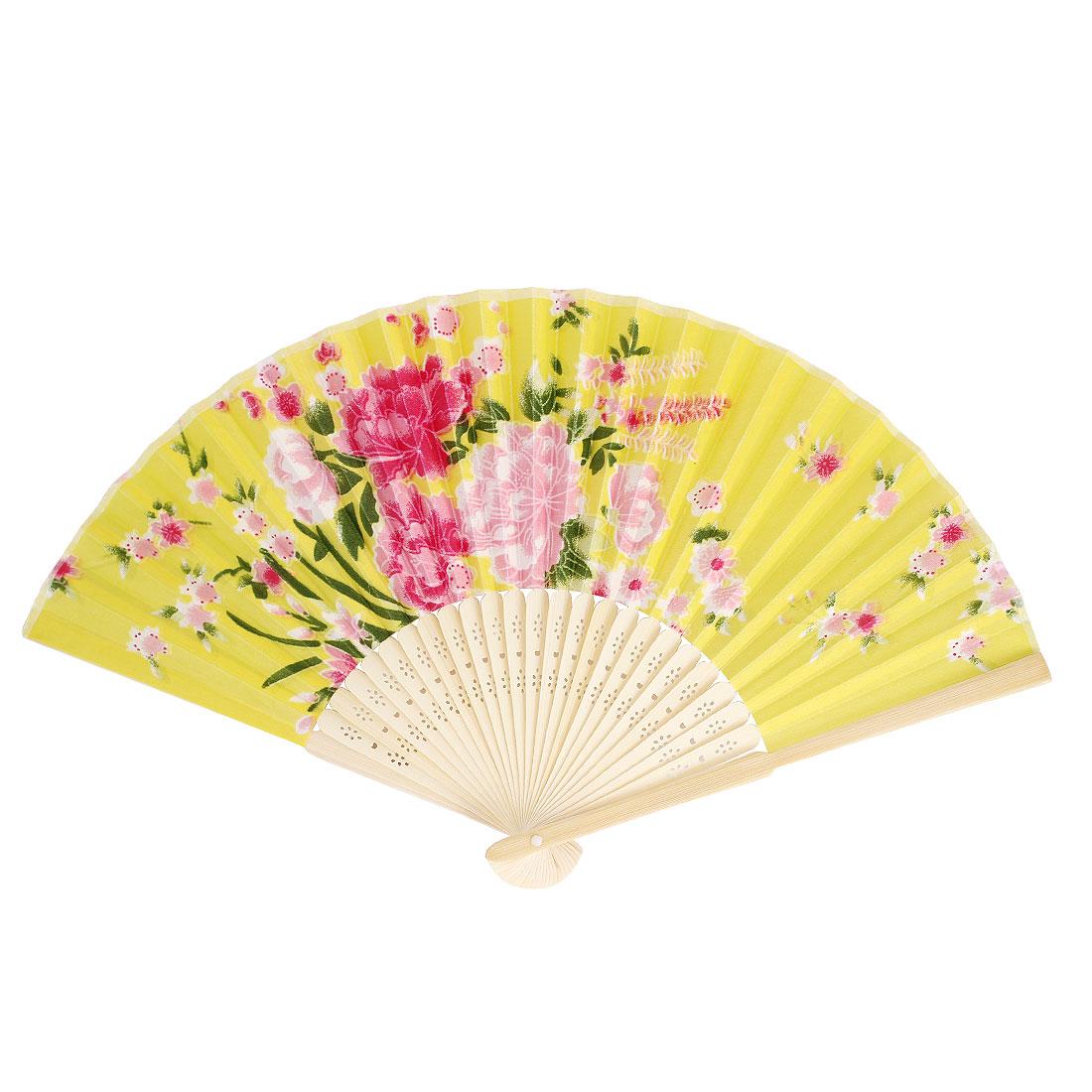 Multicolors Flowers Print Bamboo Ribs Foldable Mini Hand Fan Yellow