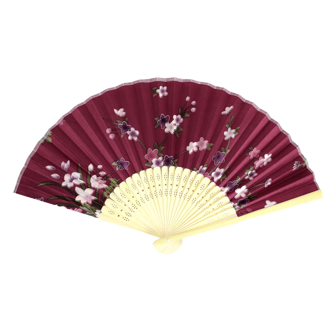 Multicolors Flowers Print Bamboo Ribs Foldable Mini Hand Fan Vermilion
