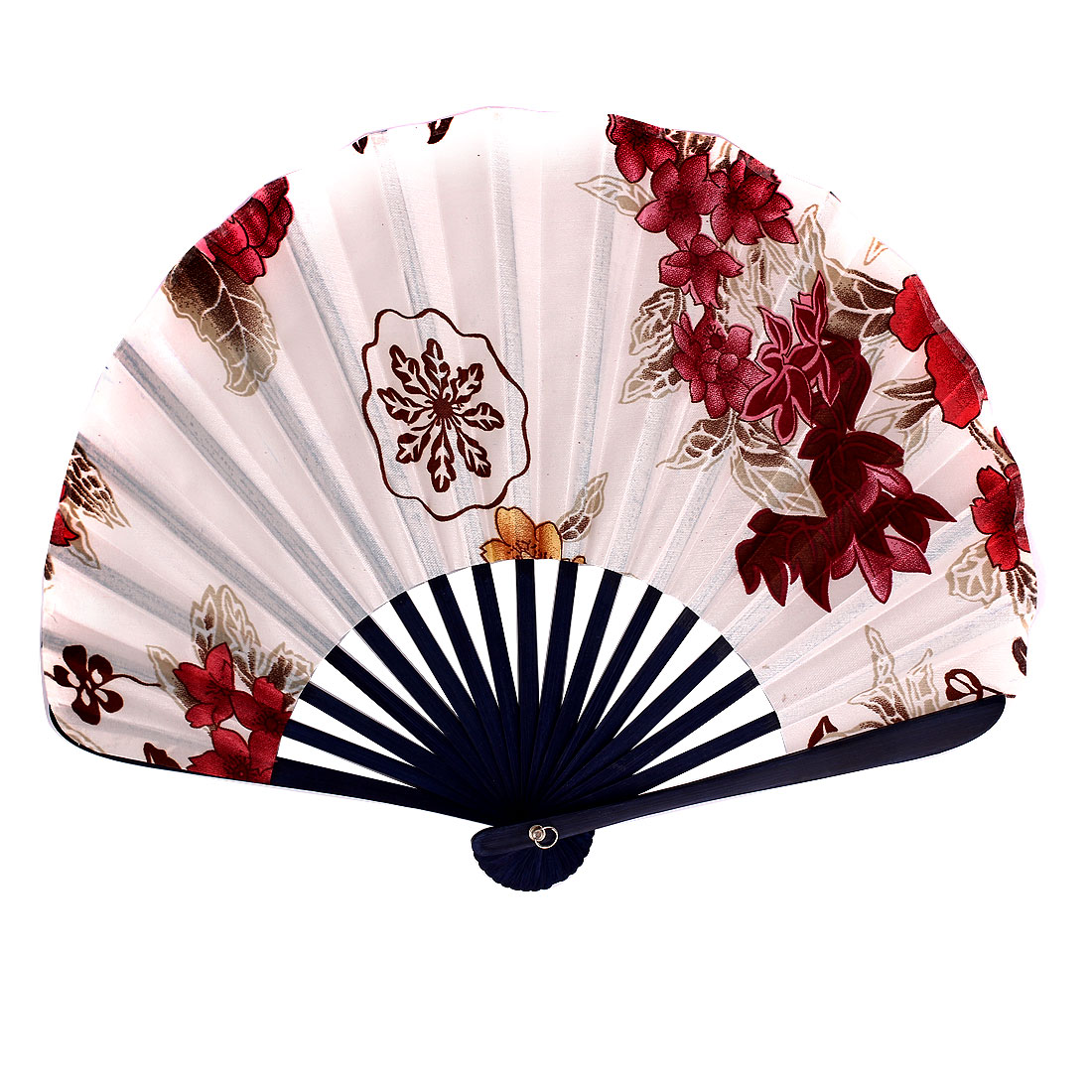 Blooming Flowers Printed Bamboo Handgrip Folding Hand Fan White