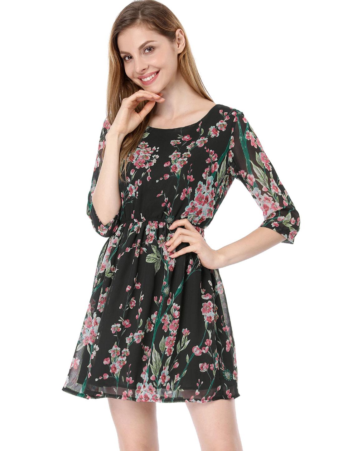 Ladies Round Neck 3/4 Sleves Elastic Waist Flower Dress Black XL