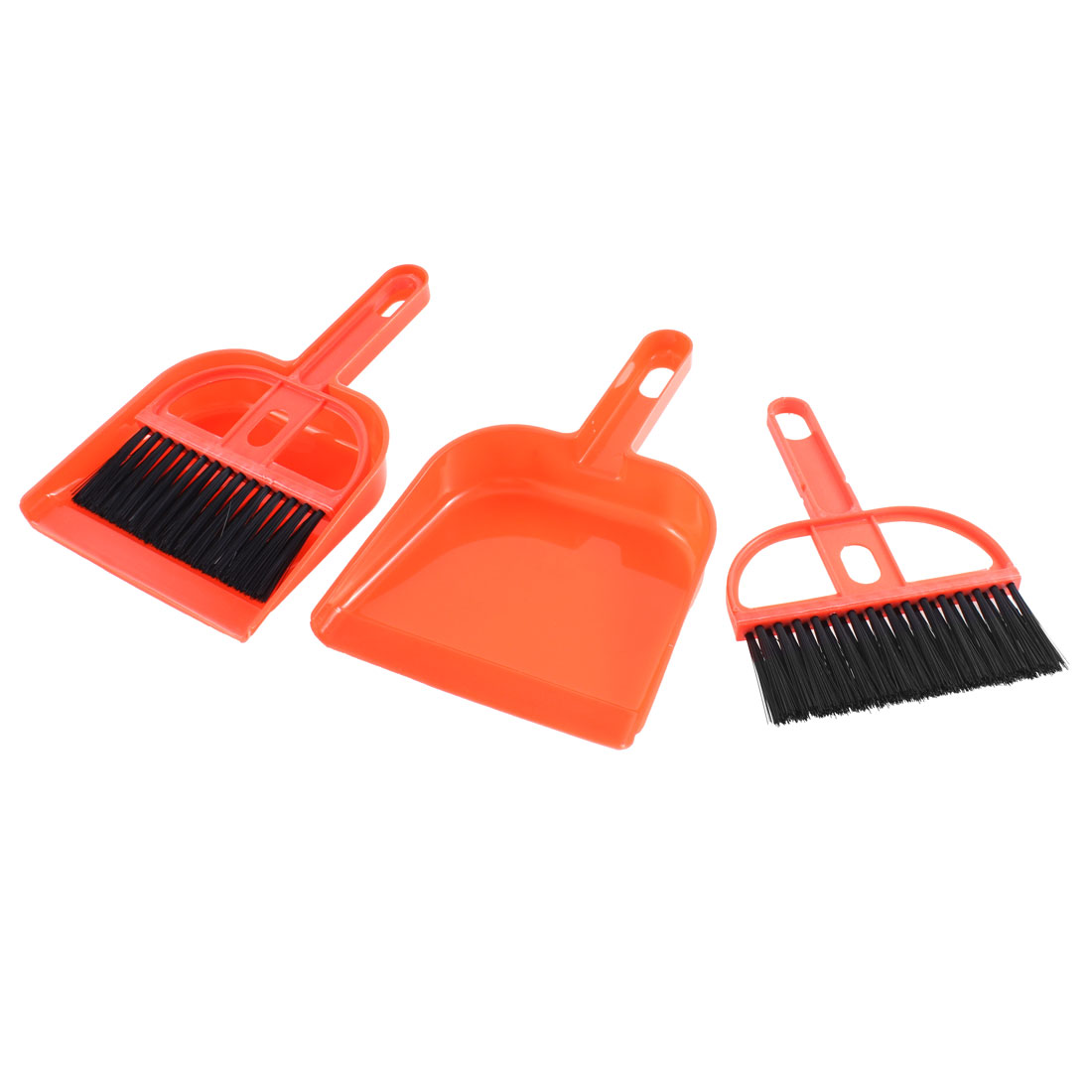 Car Dashboard Computer Desktop Laptop Cleaning Brush Dustpan Orange 2pcs