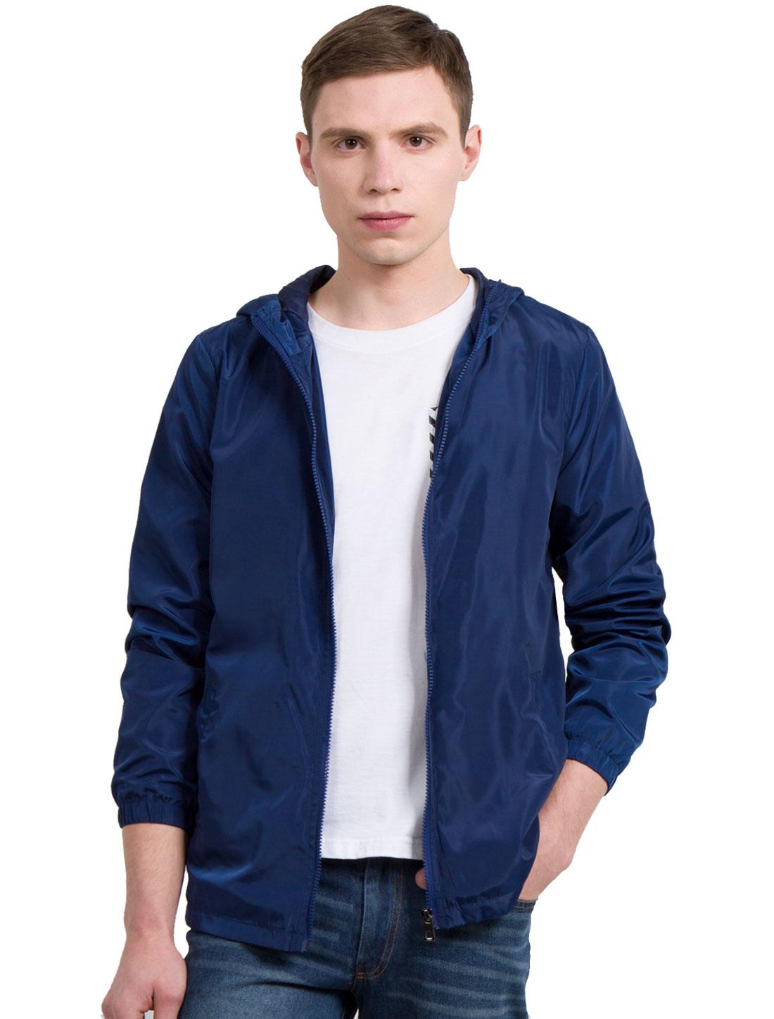 Men Long Sleeve Front Pockets Windbreaker Hoodie Jackets Navy Blue L