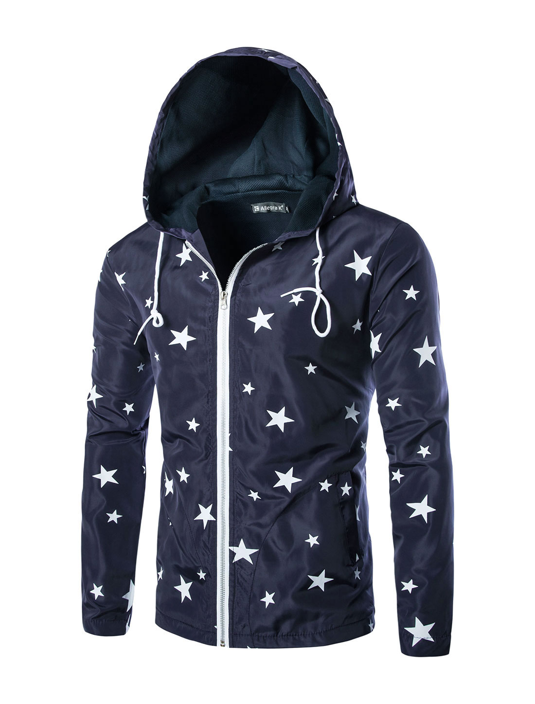 Men Long Sleeve Stars Prints Zipper Front Hoodie Jacket Navy Blue M