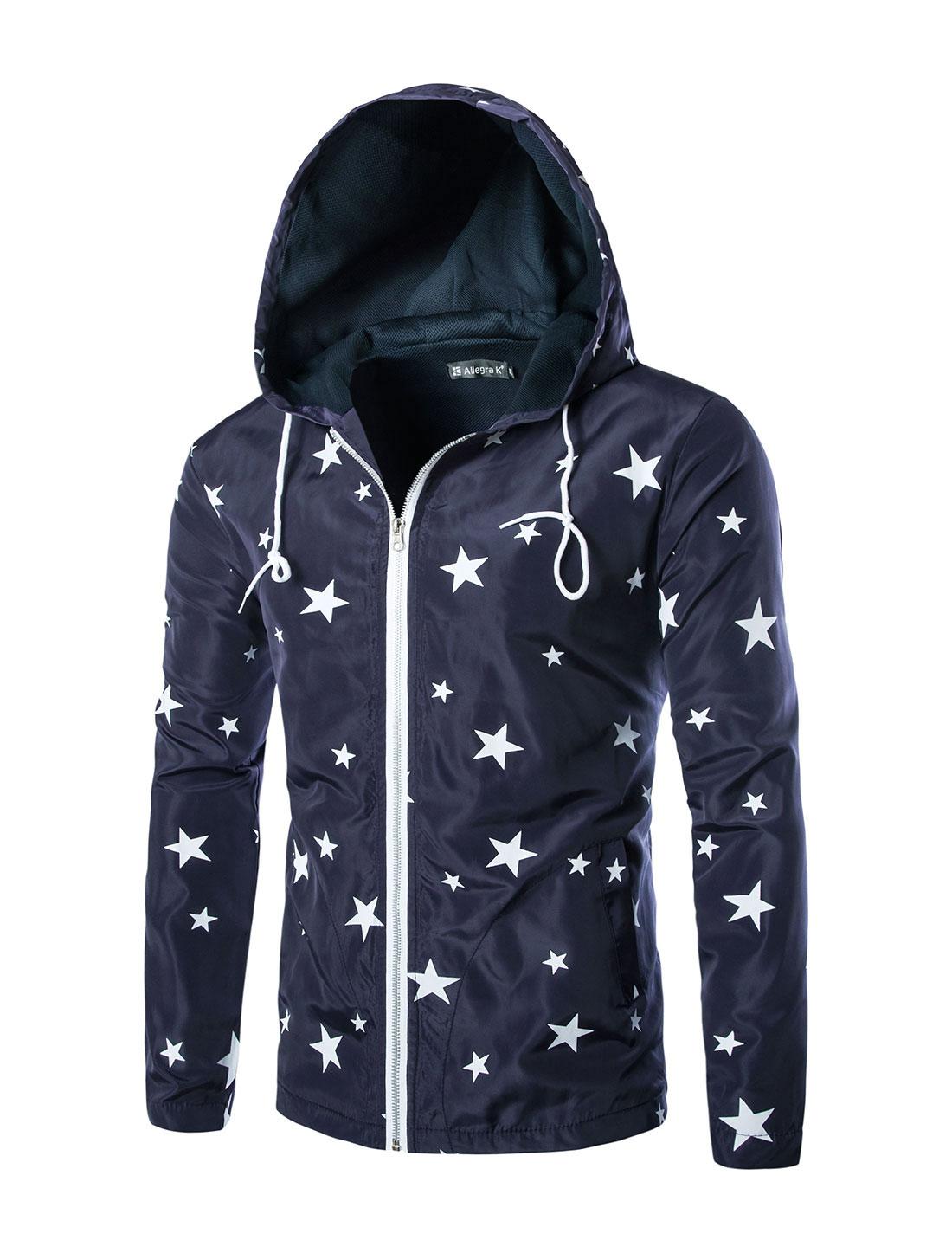 Men Long Sleeve Drawstring Hood Stars Hoodie Jackets Navy Blue M