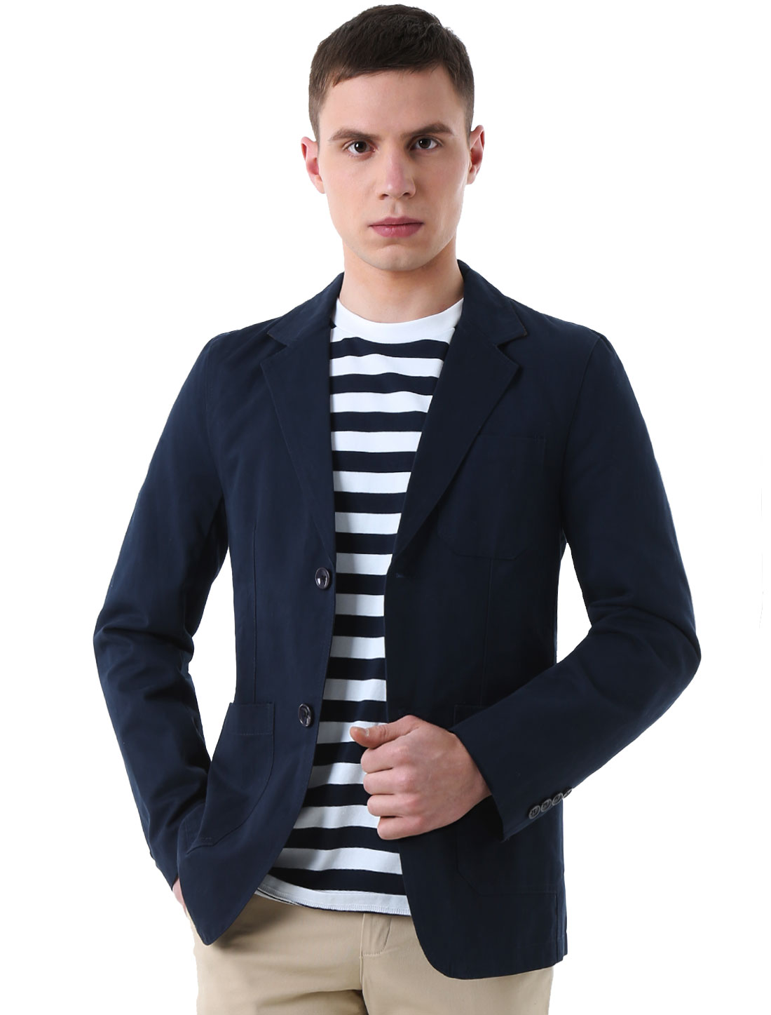 Man Two-Button Closure Notched Lapel Long Sleeve Casual Blazer Navy Blue M