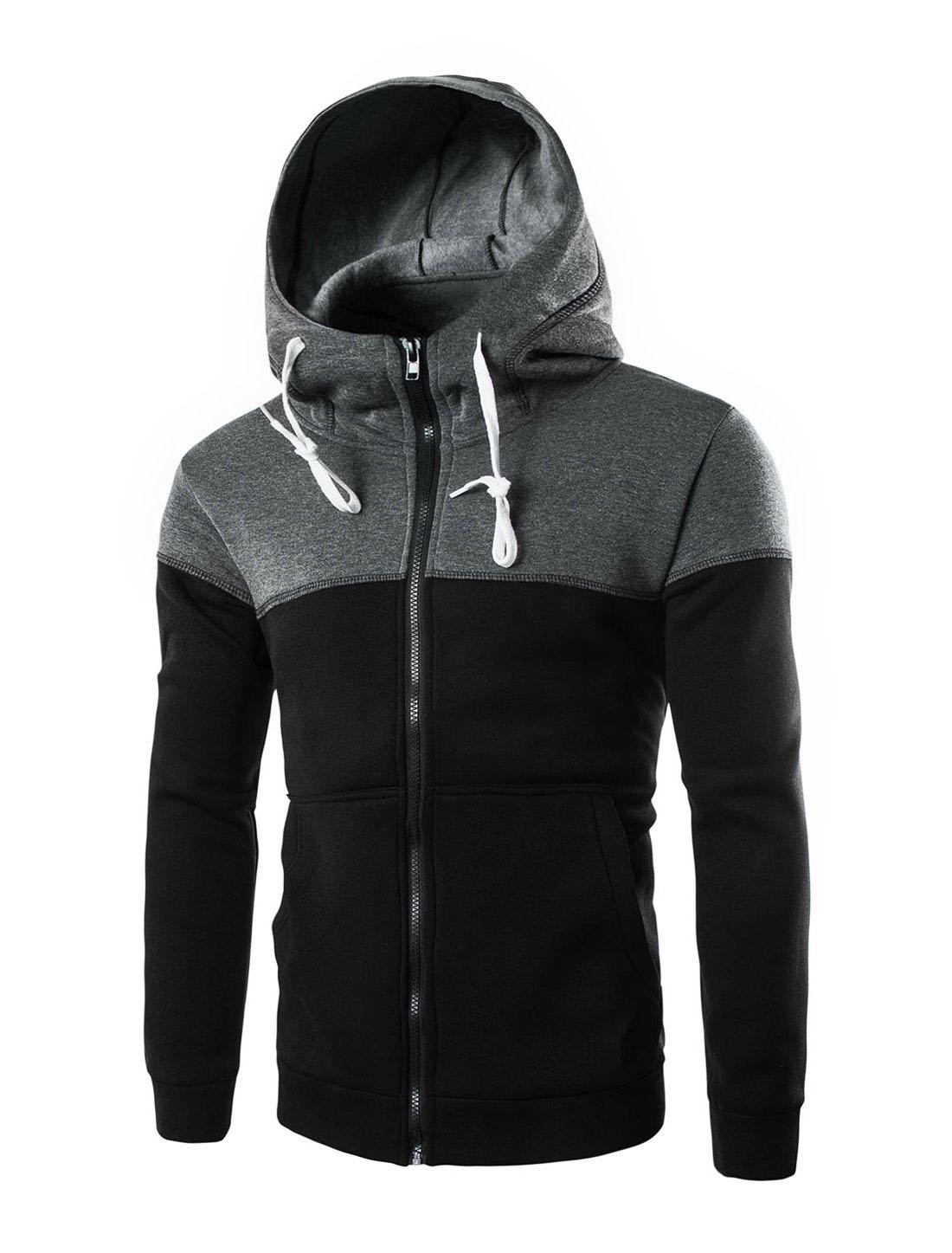 Men Long Sleeve Zip Up Front Pockets Slim Fit Hooded Jackets Black L