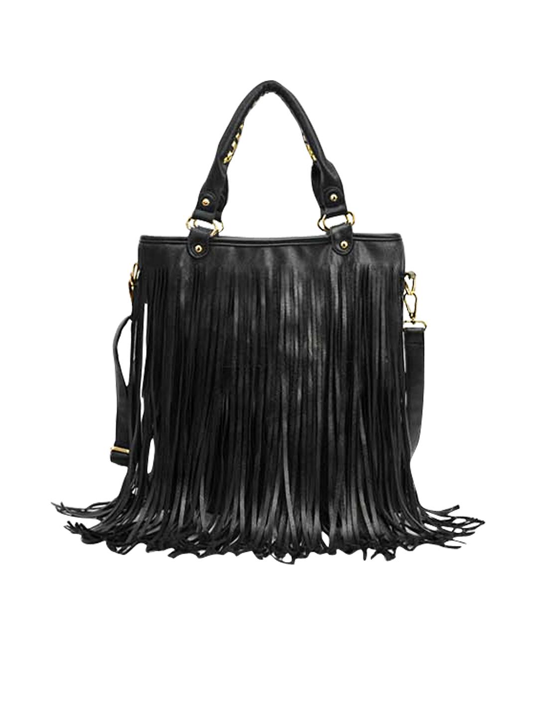 Fashion Women Punk Tassel Fringe Handbag Tote Satchel Messenger Shoulder Bag Black