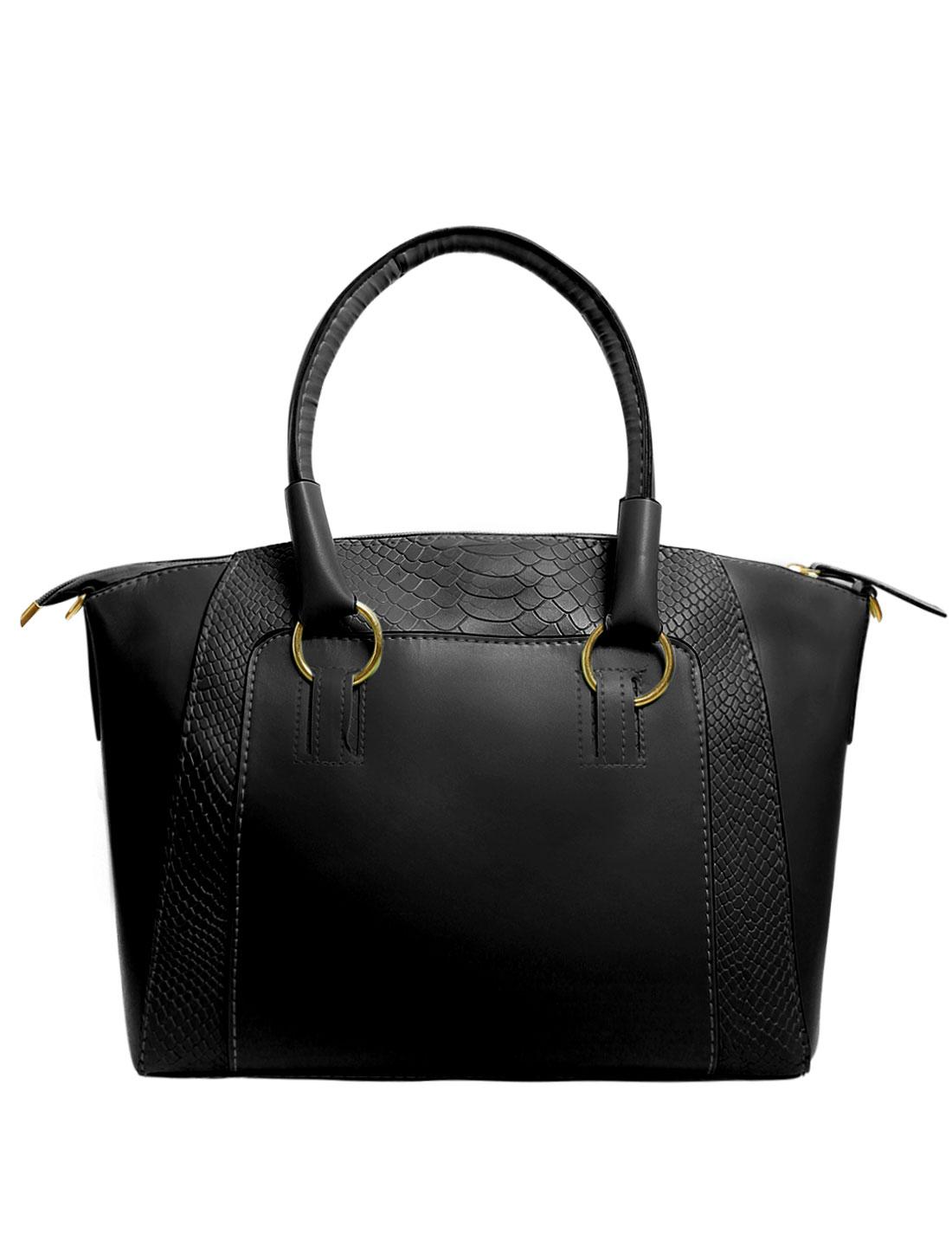 Women Faux Leather Handbag Messenger Tote Cross Body Shoulder Bag Crocodile Print Black