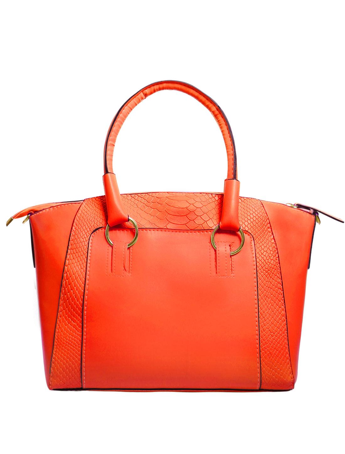Women Faux Leather Handbag Messenger Tote Cross Body Shoulder Bag Crocodile Print Orange