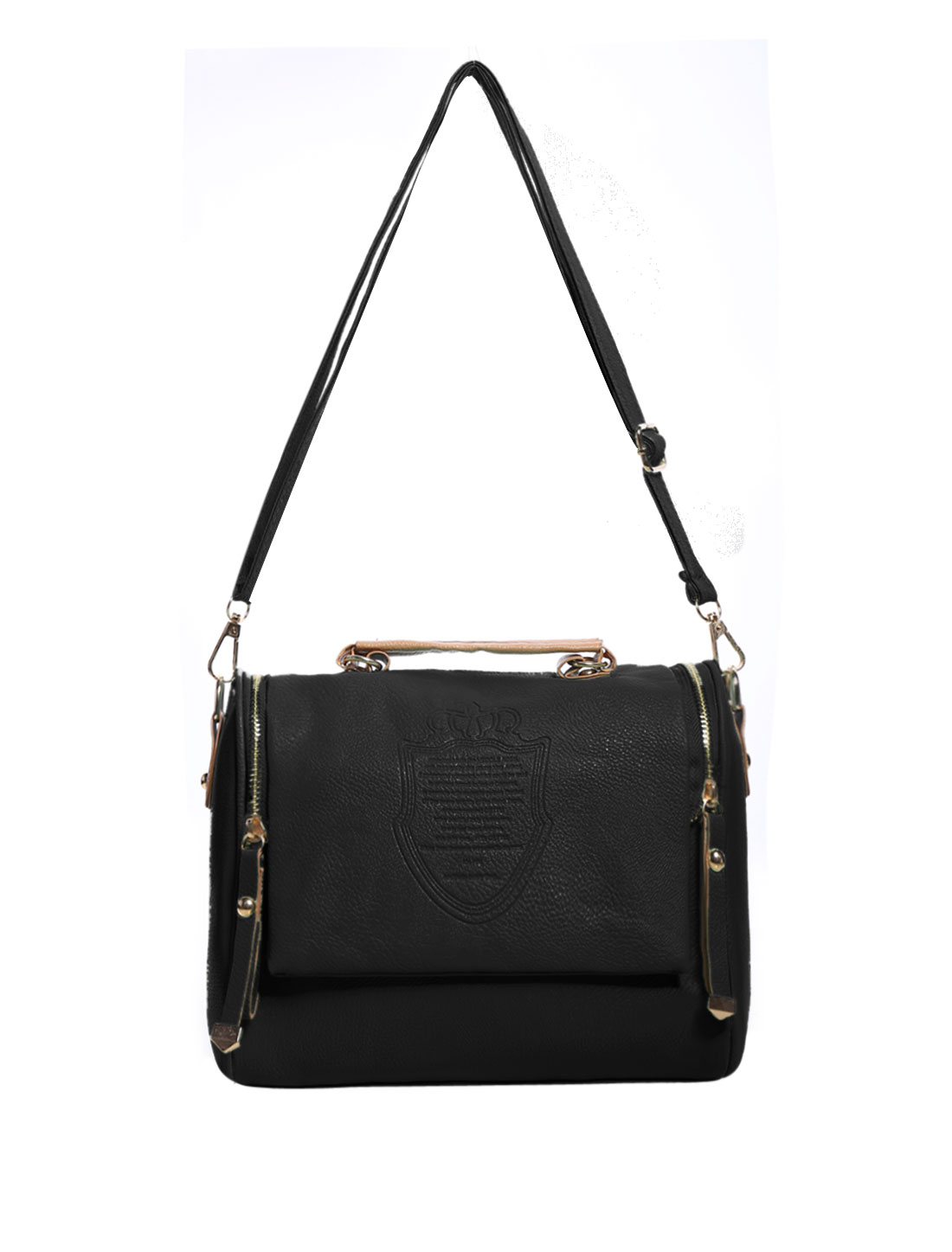Retro Faux Leather Women Handbag Tote Satchel Women Messenger Shoulder Bag Black