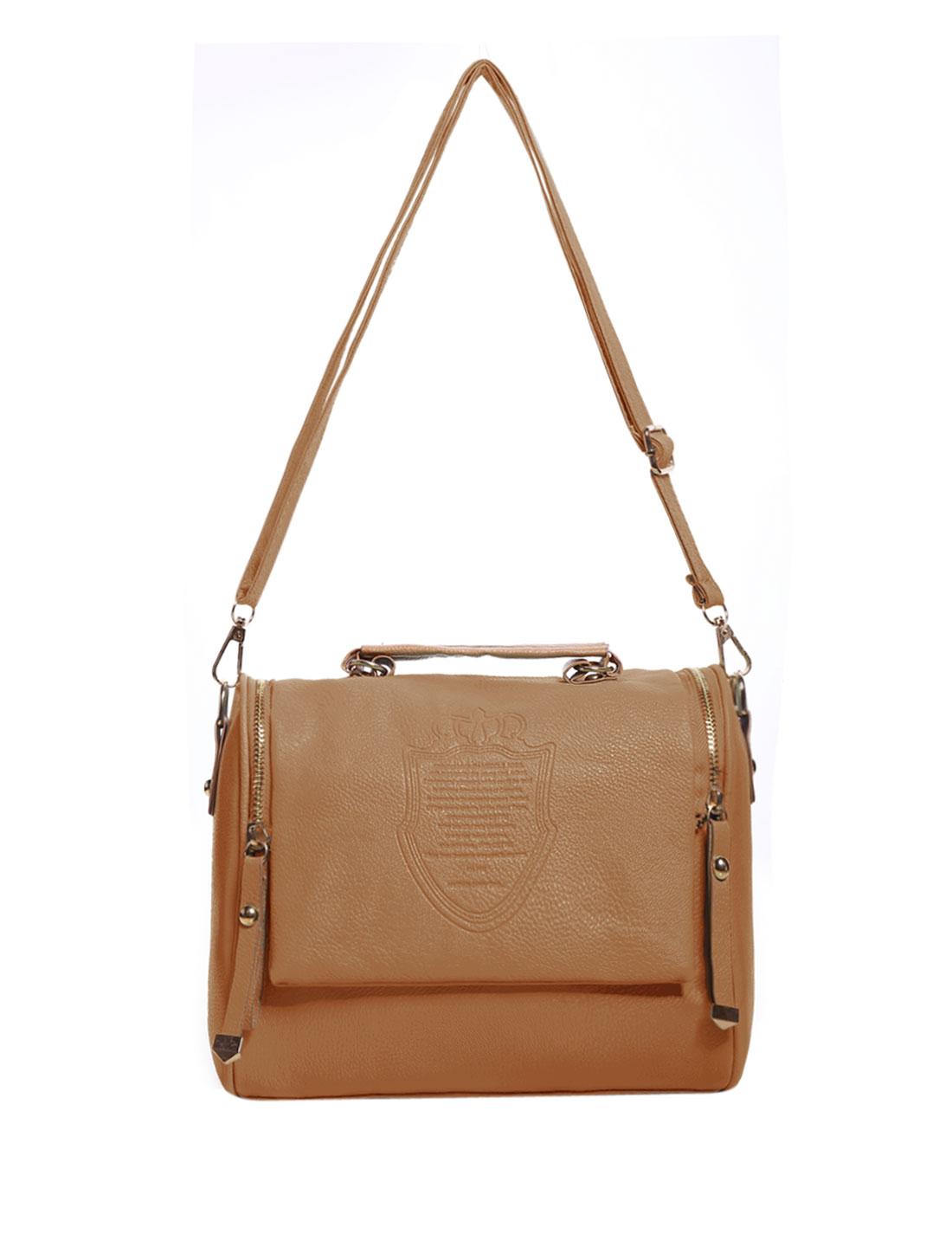 Retro Imperial Crown Pattern Faux Leather Women Handbag Tote Messenger Shoulder Bag Khaki