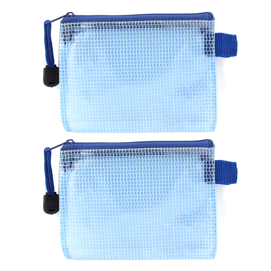 Note Paper Book Document Zipper Bag Holder Case Blue 2Pcs