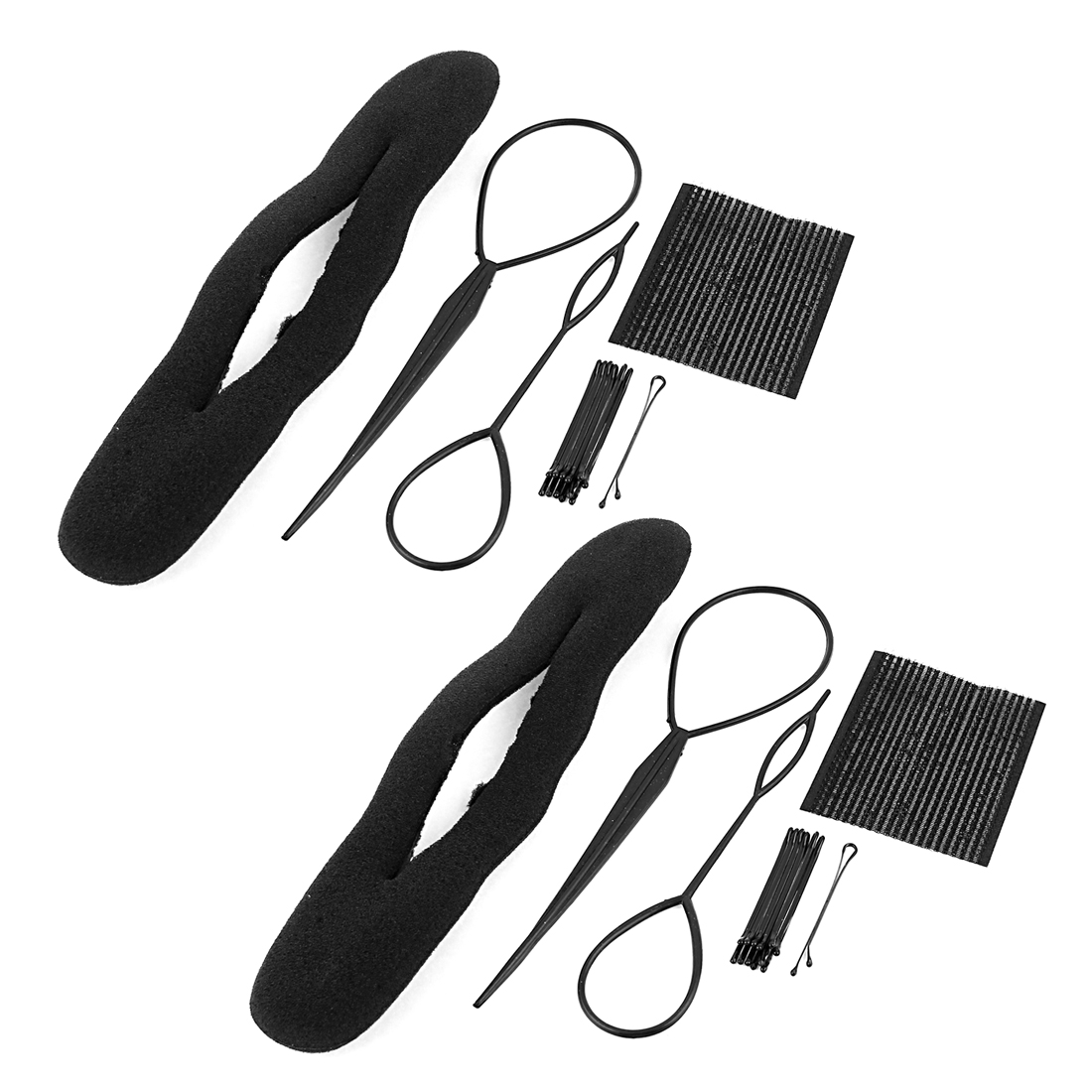 Black Long Hair Twister Styling Sponge Hairclips For Woman