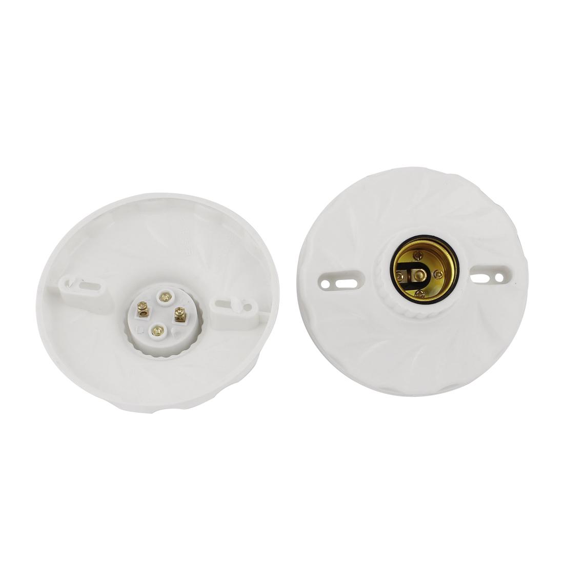 White Plastic Light Bulb Lamp Round Socket Holder 2 Pcs