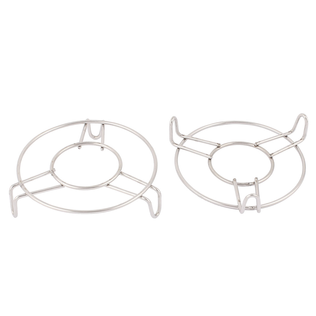 "Kitchen Metal Round Food Cooking Steaming Rack Stand 4"" Dia Silver Tone 2pcs"