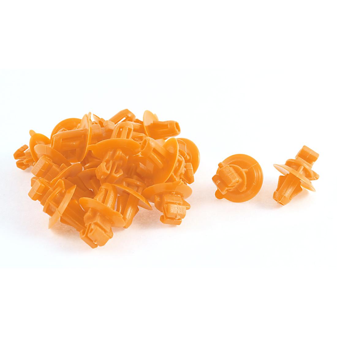 20 Pcs Orange Plastic Defender Fender Push-Type Mat Clips for Toyota
