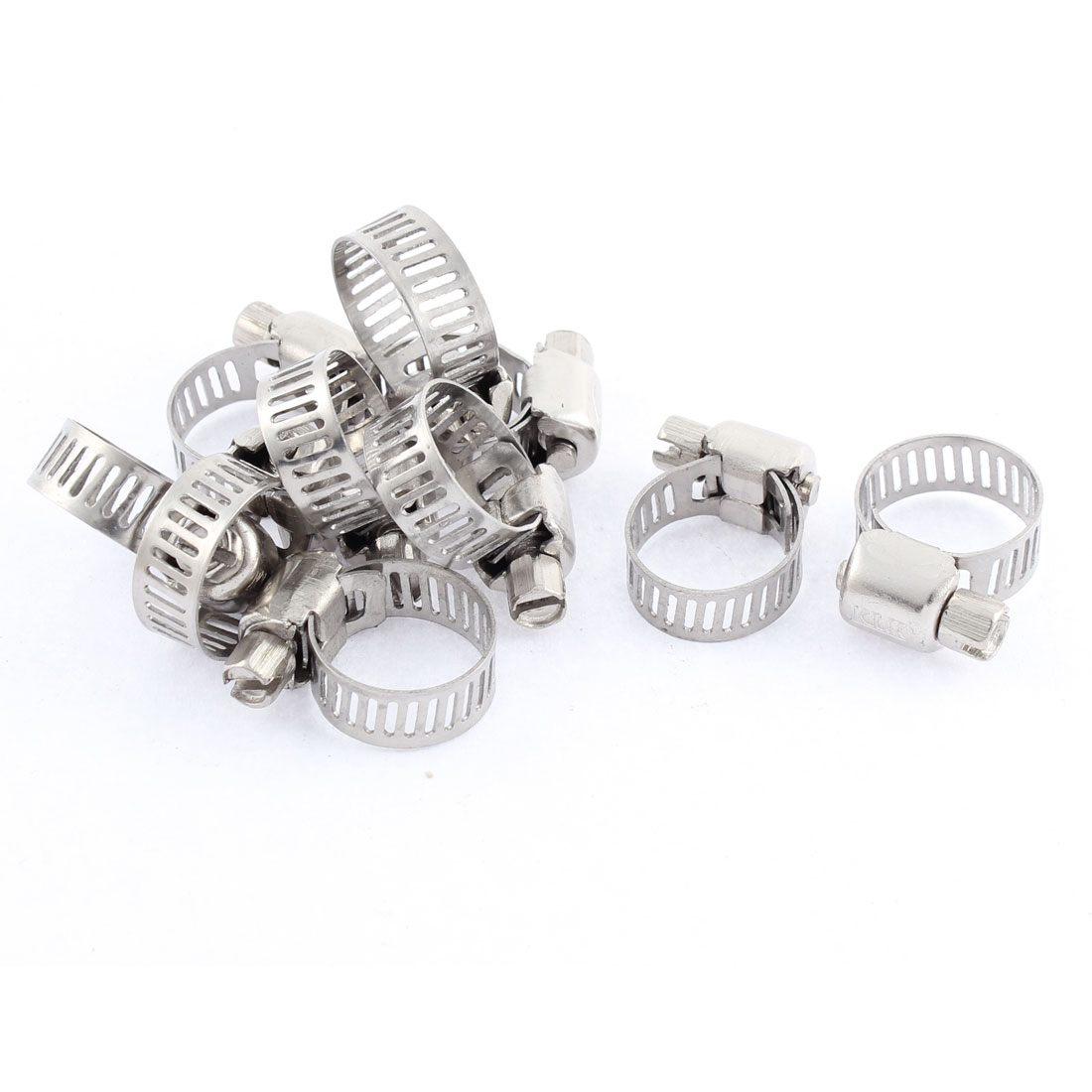 Adjustable 10mm-16mm Range Band Stainless Steel Worm Hose Clip Clamp 10 Pcs