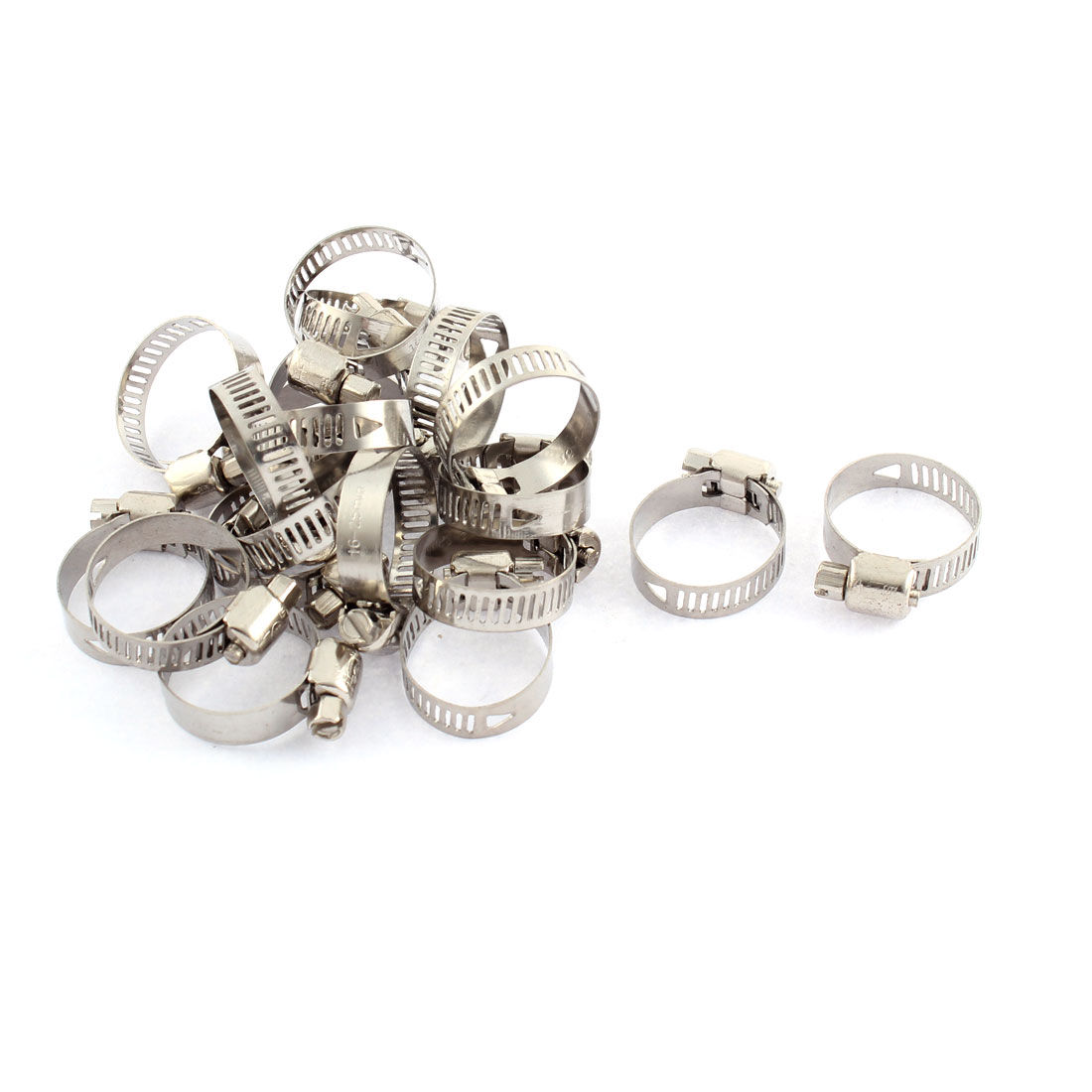 Adjustable 16mm-25mm Range Band Stainless Steel Worm Hose Clip Clamp 20 Pcs